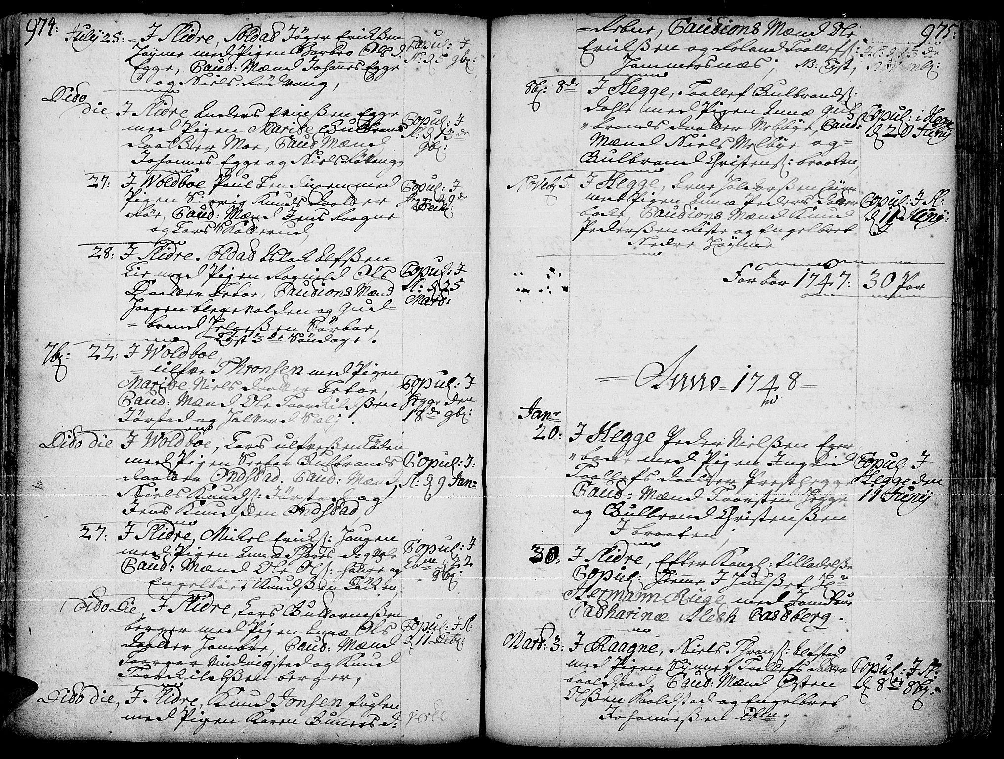 SAH, Slidre prestekontor, Ministerialbok nr. 1, 1724-1814, s. 974-975
