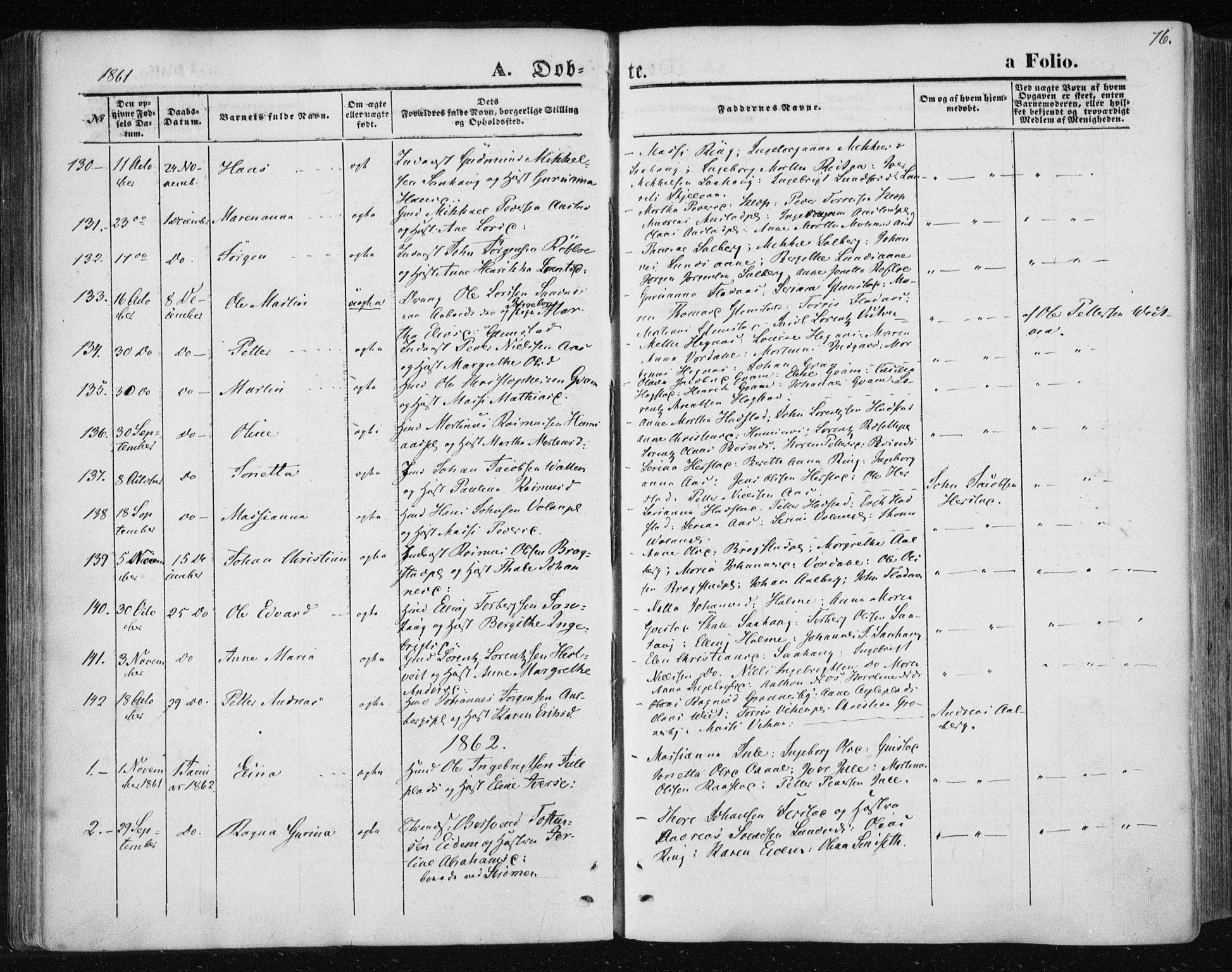 SAT, Ministerialprotokoller, klokkerbøker og fødselsregistre - Nord-Trøndelag, 730/L0283: Ministerialbok nr. 730A08, 1855-1865, s. 76