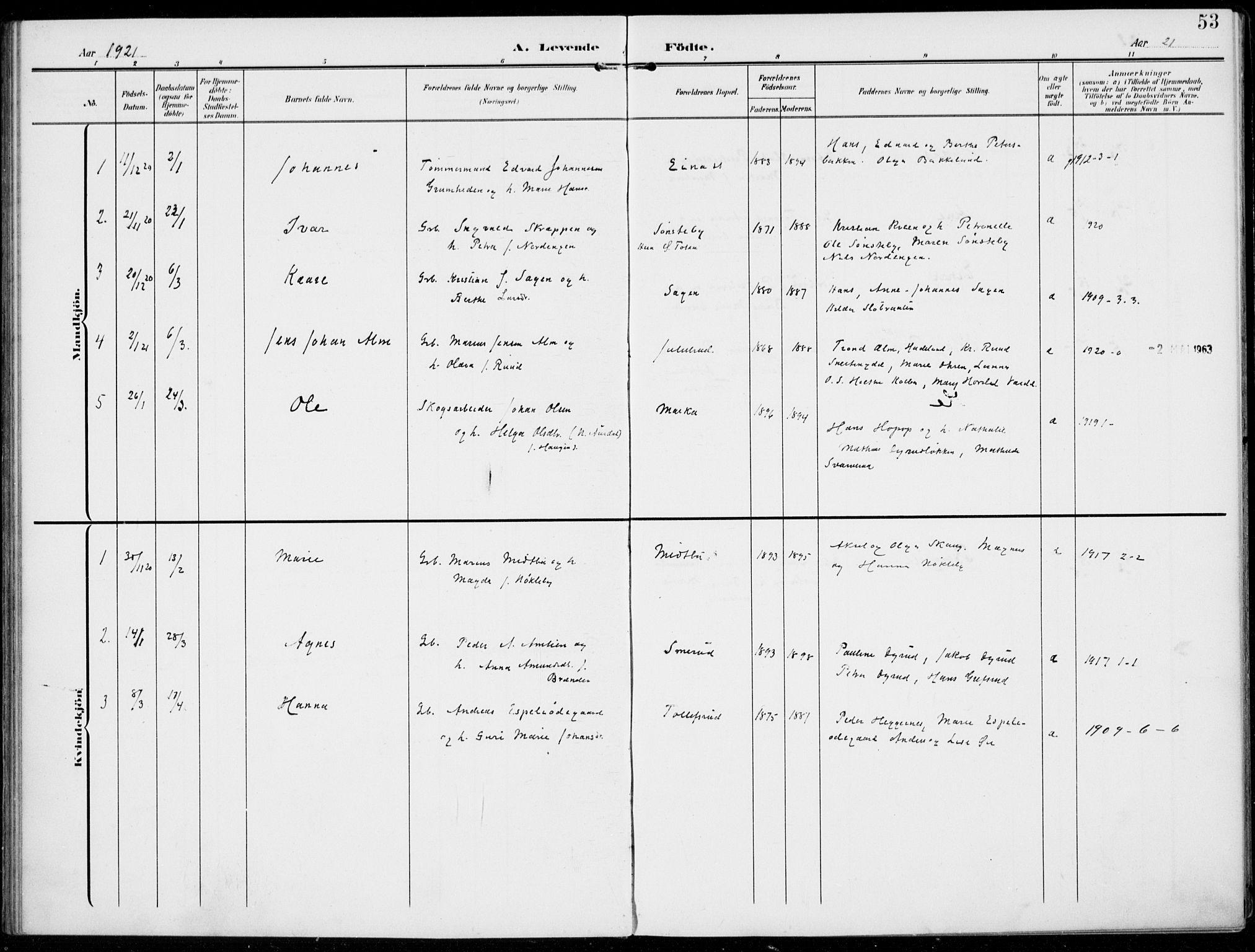 SAH, Kolbu prestekontor, Ministerialbok nr. 1, 1907-1923, s. 53