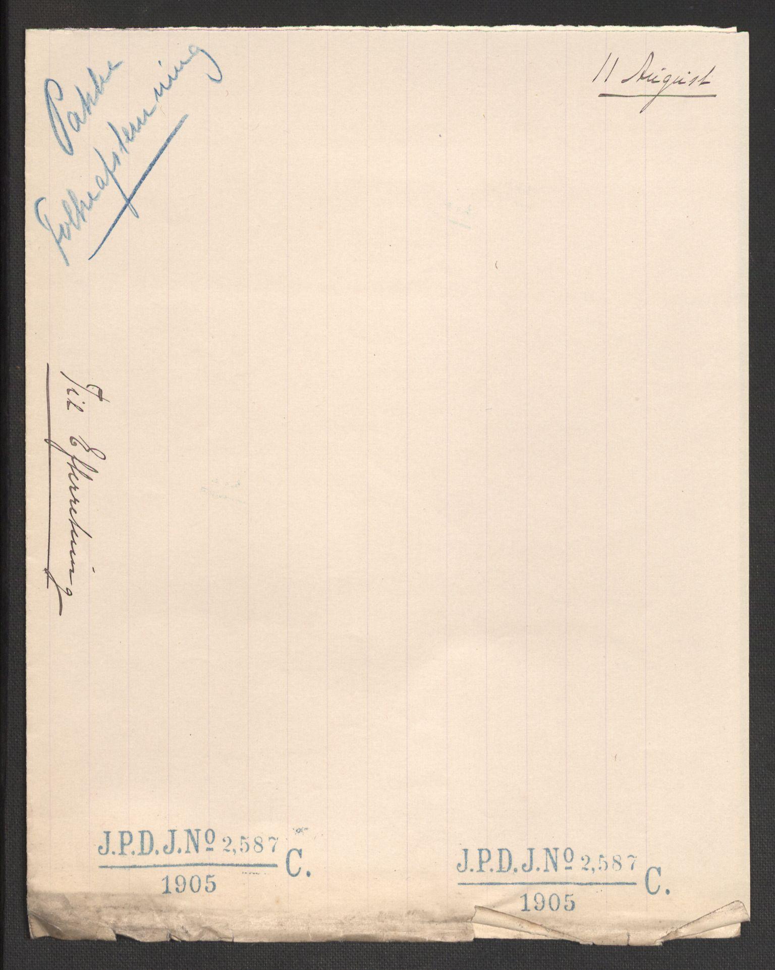 RA, Justisdepartementet, 2. sivilkontor C, F/L0125B: Folkeavstemmingen august 1905, 1905, s. 114