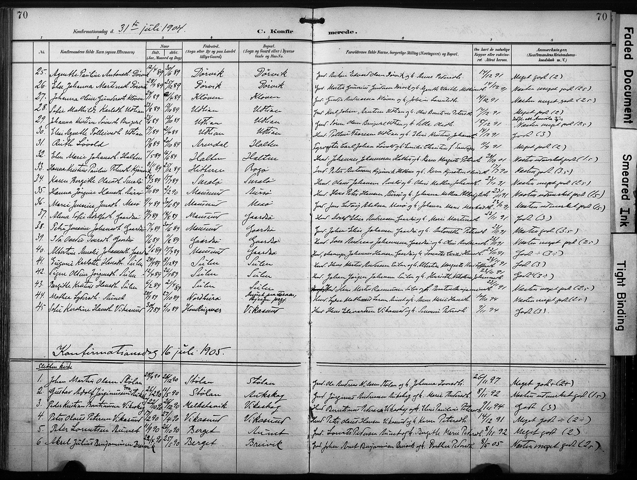 SAT, Ministerialprotokoller, klokkerbøker og fødselsregistre - Sør-Trøndelag, 640/L0580: Ministerialbok nr. 640A05, 1902-1910, s. 70