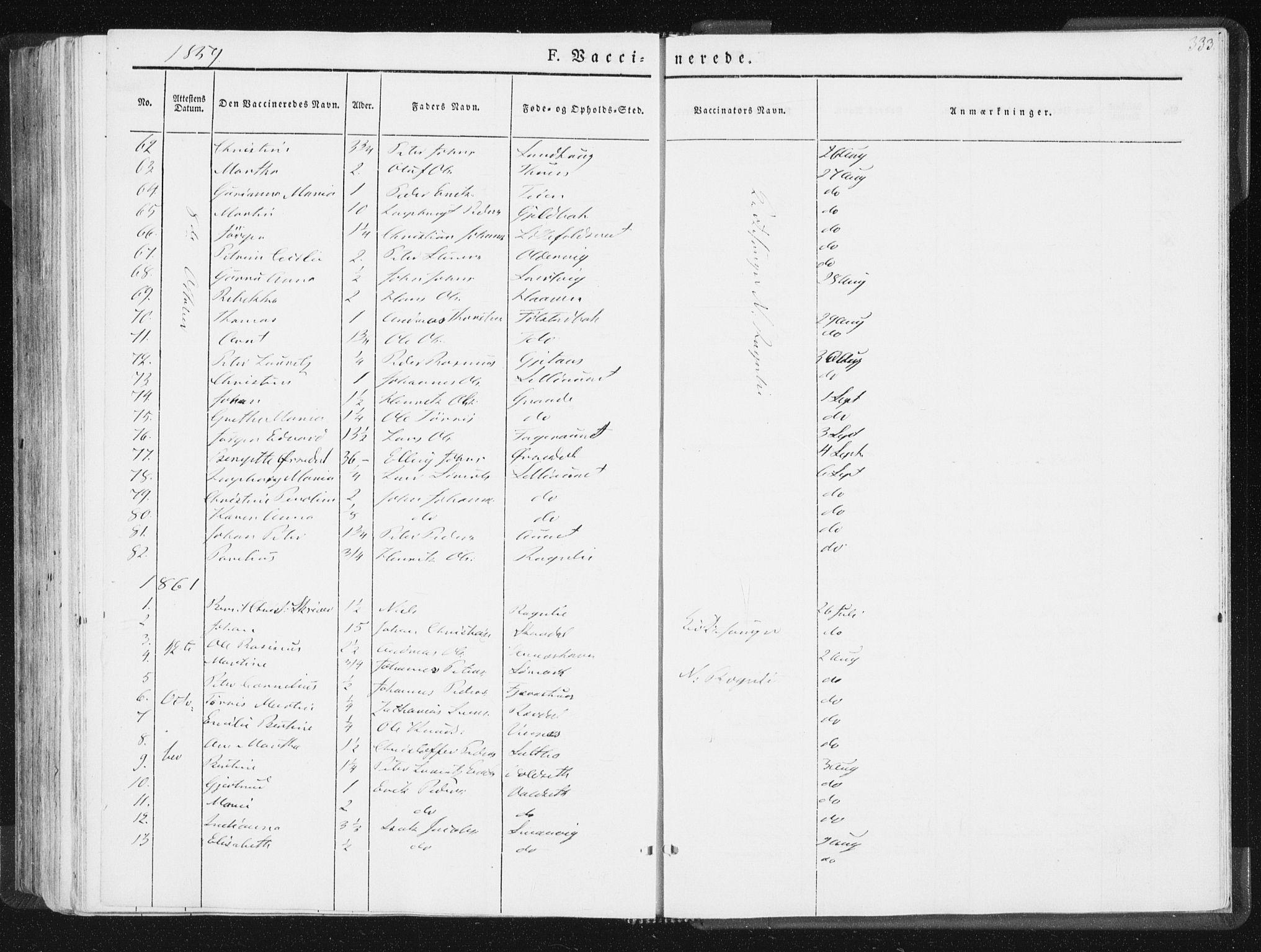 SAT, Ministerialprotokoller, klokkerbøker og fødselsregistre - Nord-Trøndelag, 744/L0418: Ministerialbok nr. 744A02, 1843-1866, s. 333
