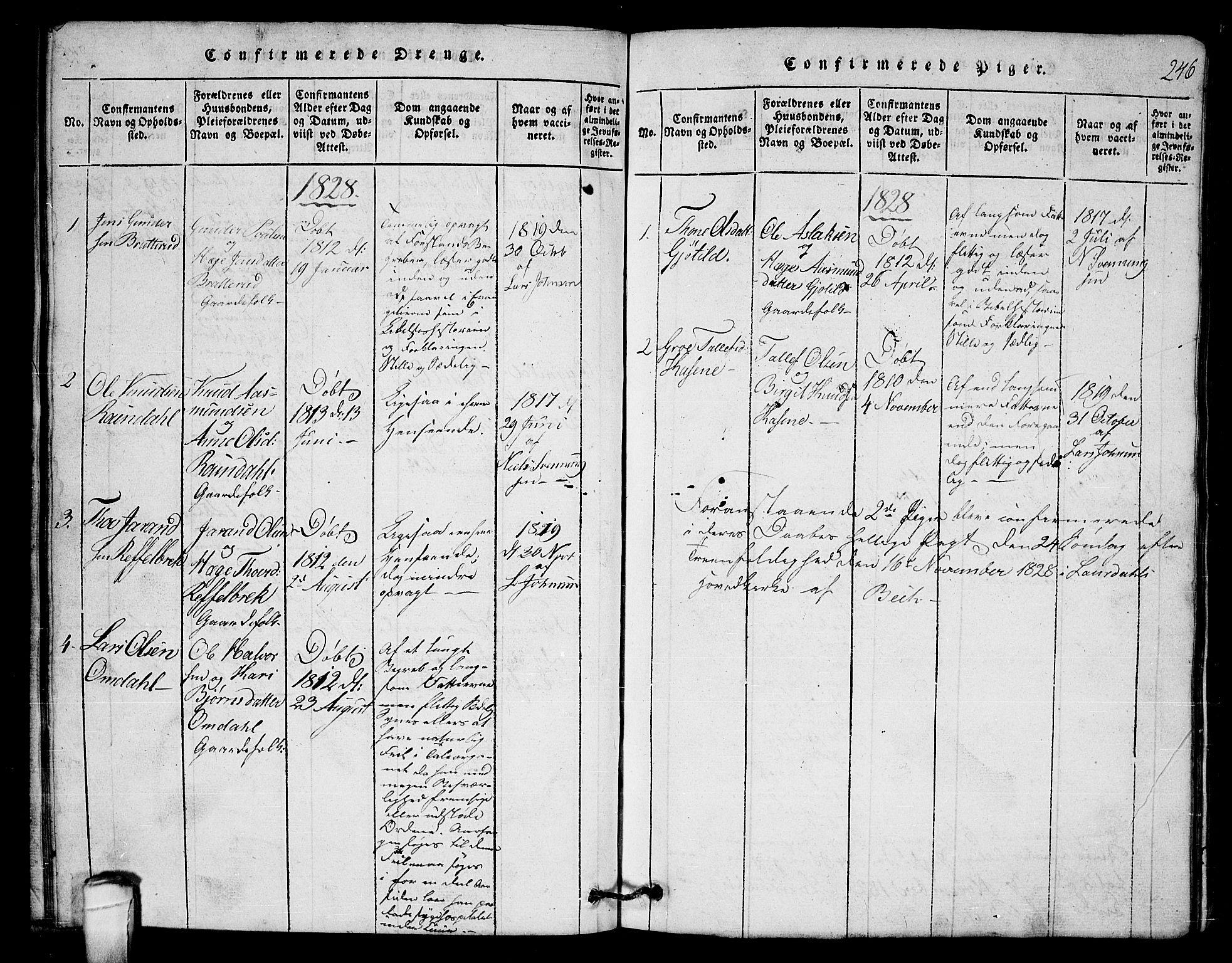 SAKO, Lårdal kirkebøker, G/Gb/L0001: Klokkerbok nr. II 1, 1815-1865, s. 246