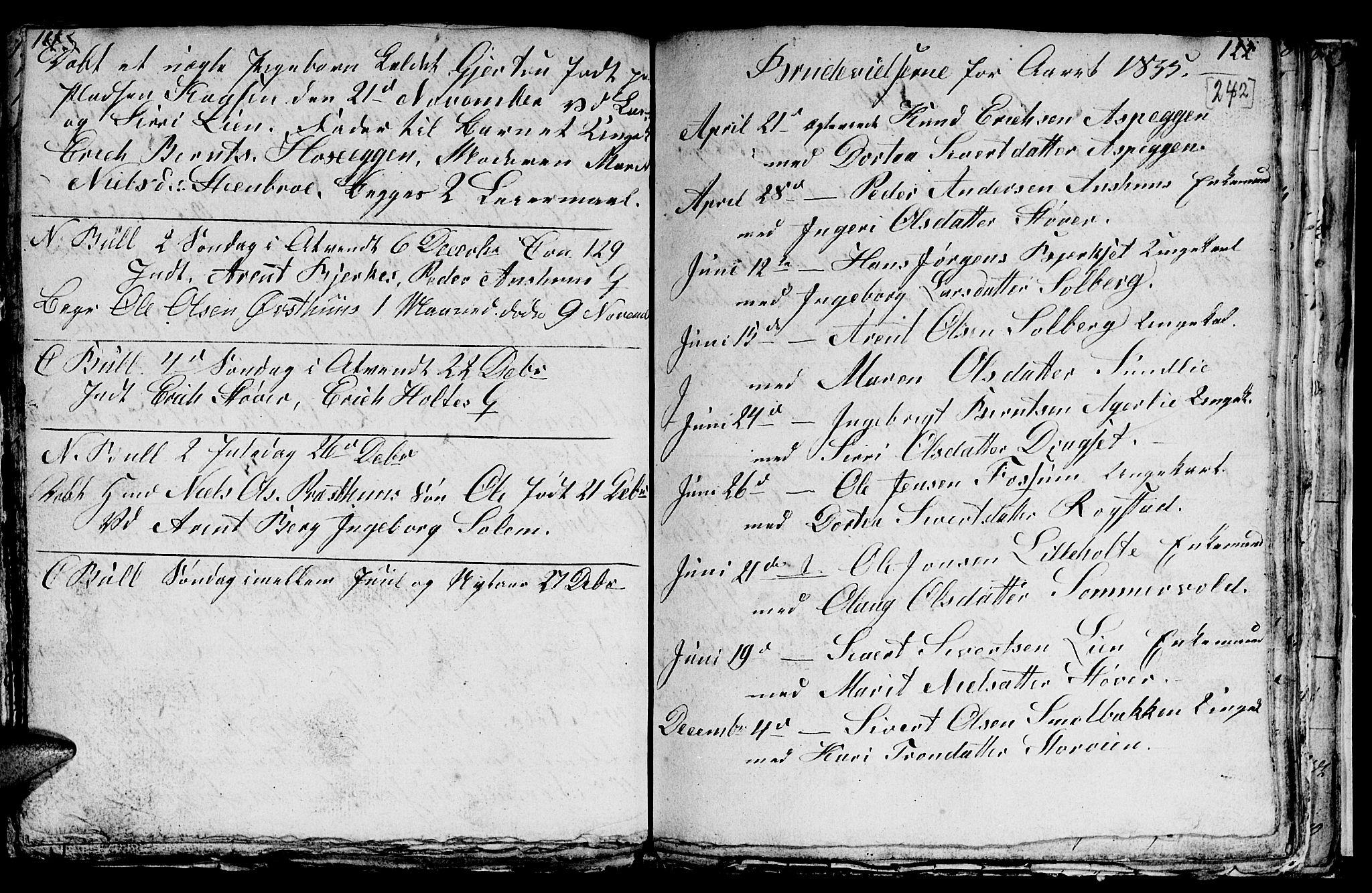 SAT, Ministerialprotokoller, klokkerbøker og fødselsregistre - Sør-Trøndelag, 689/L1042: Klokkerbok nr. 689C01, 1812-1841, s. 241-242