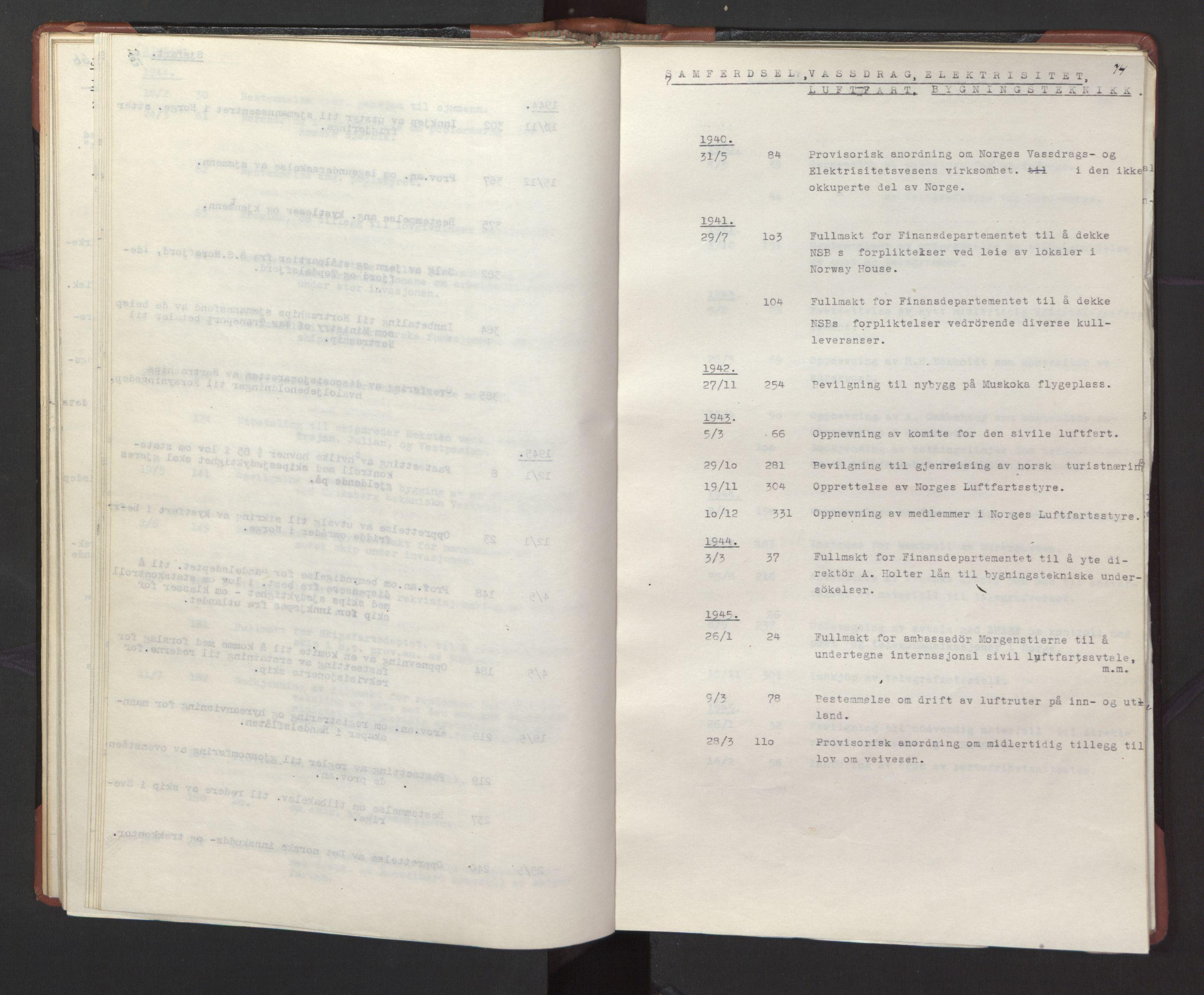 RA, Statsrådssekretariatet, A/Ac/L0127: Register 9/4-25/5, 1940-1945, s. 74