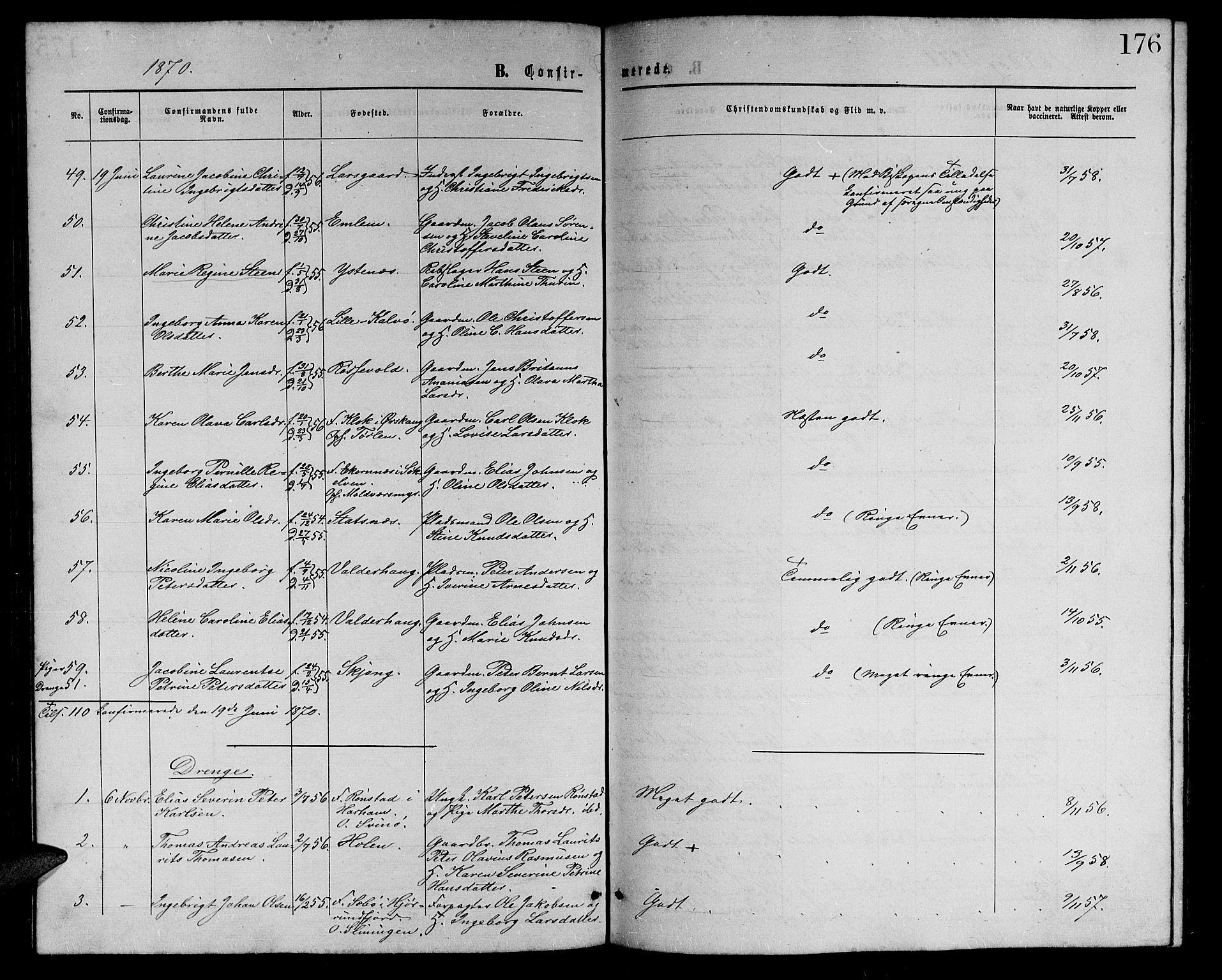 SAT, Ministerialprotokoller, klokkerbøker og fødselsregistre - Møre og Romsdal, 528/L0428: Klokkerbok nr. 528C09, 1864-1880, s. 176