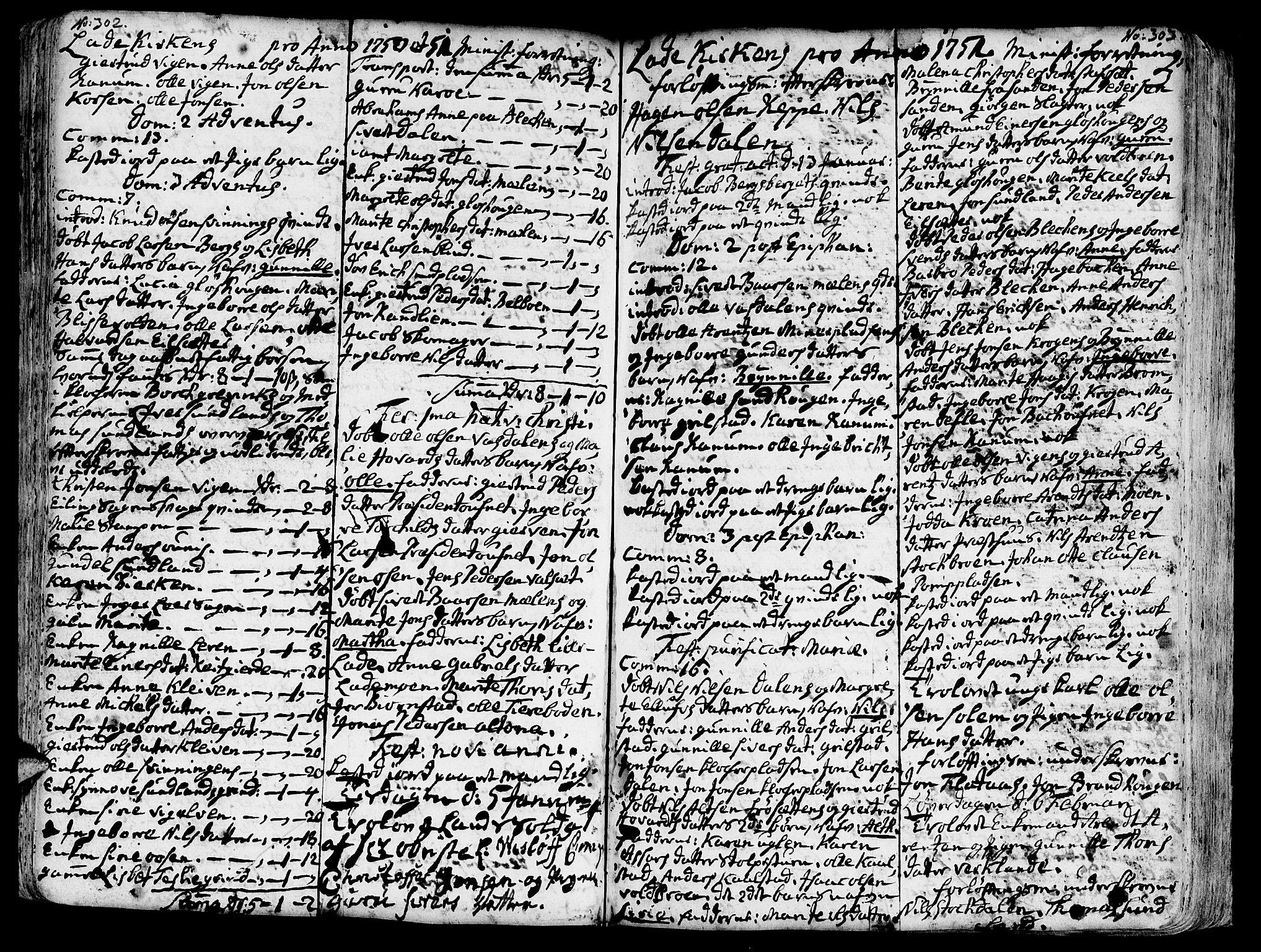 SAT, Ministerialprotokoller, klokkerbøker og fødselsregistre - Sør-Trøndelag, 606/L0275: Ministerialbok nr. 606A01 /1, 1727-1780, s. 302-303