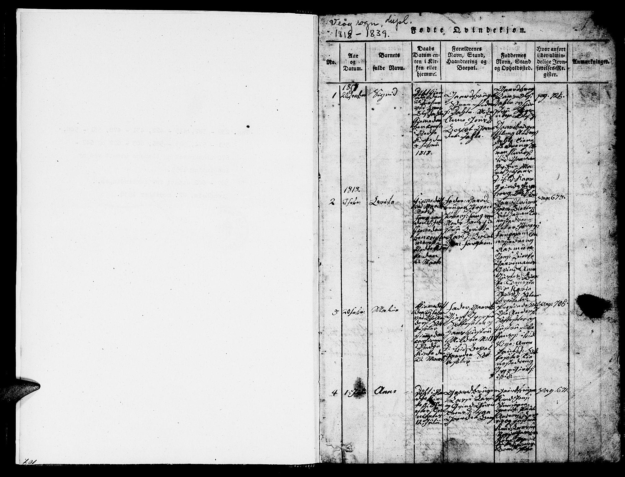 SAT, Ministerialprotokoller, klokkerbøker og fødselsregistre - Møre og Romsdal, 547/L0610: Klokkerbok nr. 547C01, 1818-1839, s. 1