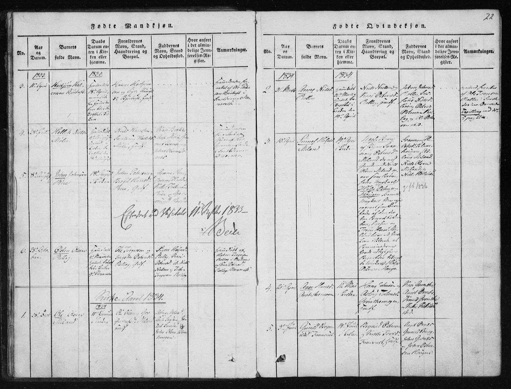 SAKO, Tinn kirkebøker, F/Fb/L0001: Ministerialbok nr. II 1, 1815-1843, s. 22