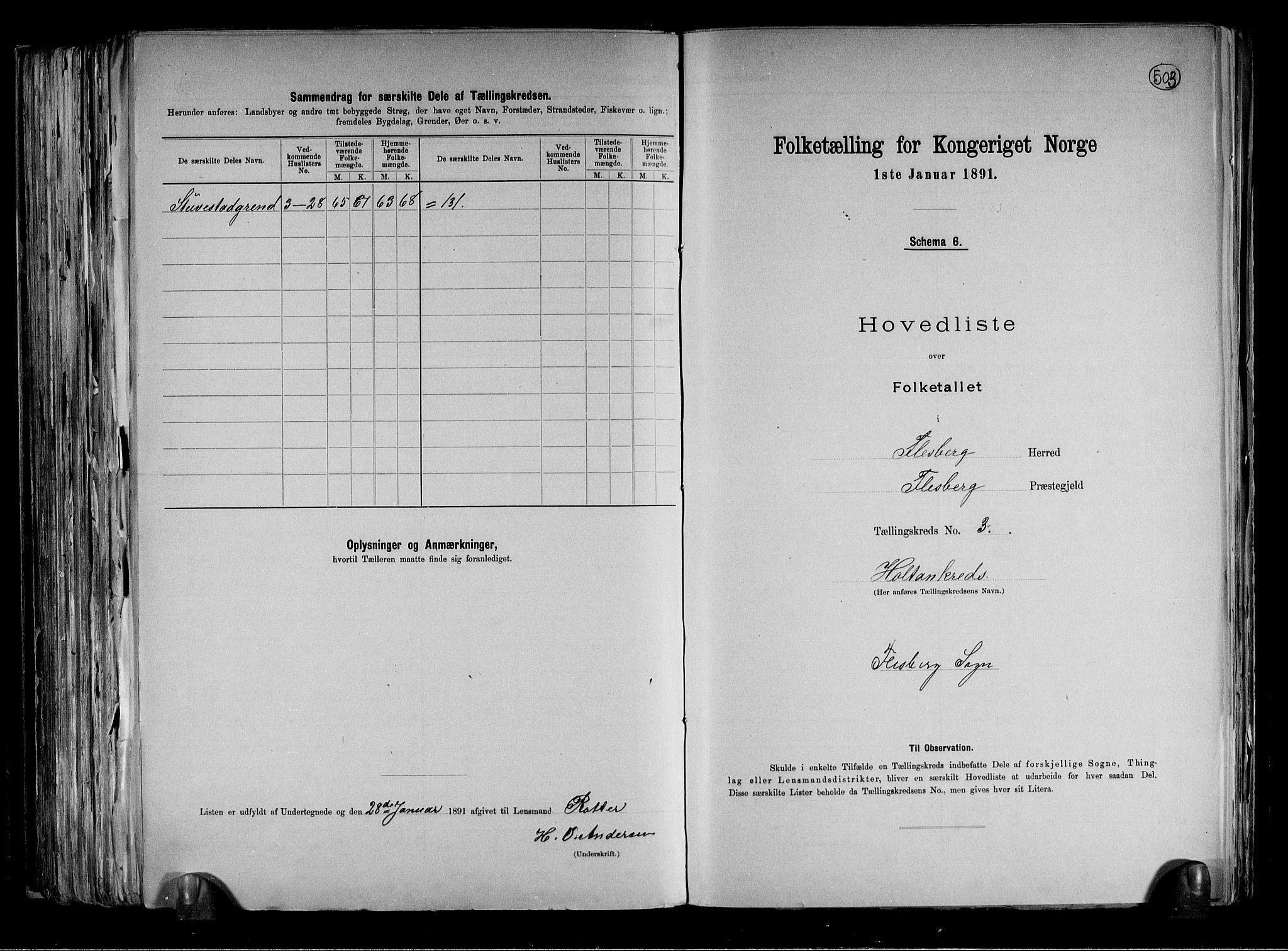 RA, Folketelling 1891 for 0631 Flesberg herred, 1891, s. 8