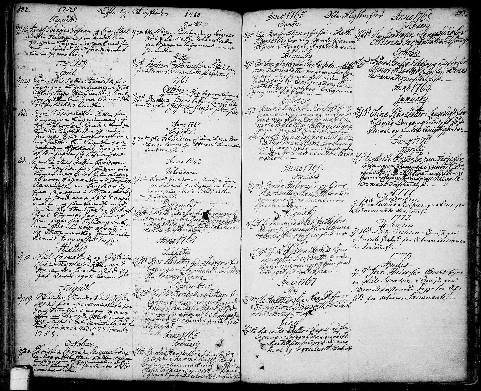 SAKO, Bamble kirkebøker, F/Fa/L0001: Ministerialbok nr. I 1, 1702-1774, s. 502-503