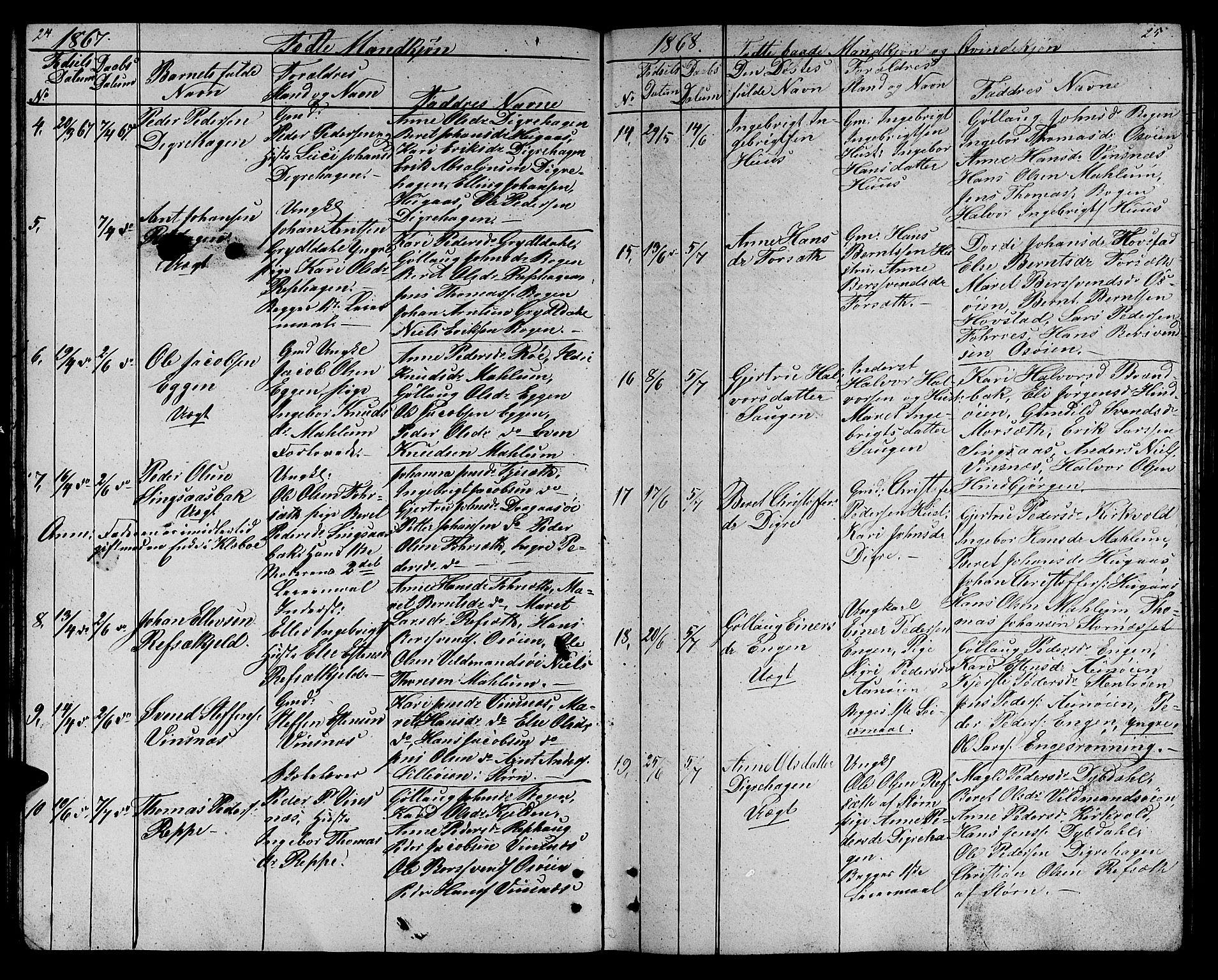 SAT, Ministerialprotokoller, klokkerbøker og fødselsregistre - Sør-Trøndelag, 688/L1027: Klokkerbok nr. 688C02, 1861-1889, s. 24-25