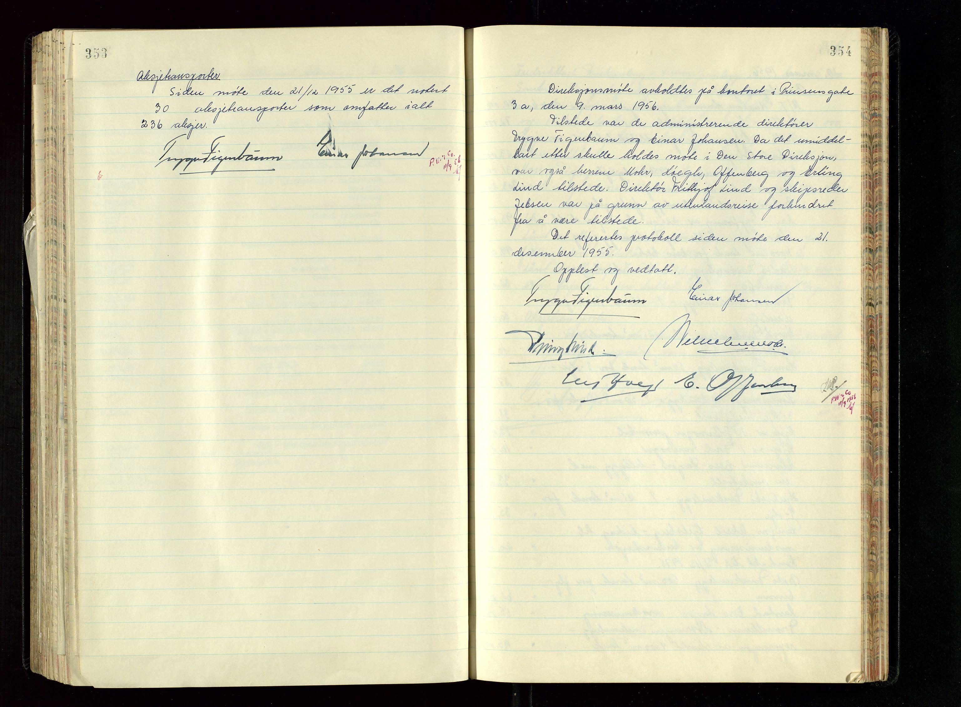SAST, PA 1534 - Østlandske Petroleumscompagni A/S, A/Aa/L0005: Direksjonsprotokoller, 1943-1958, s. 353-354