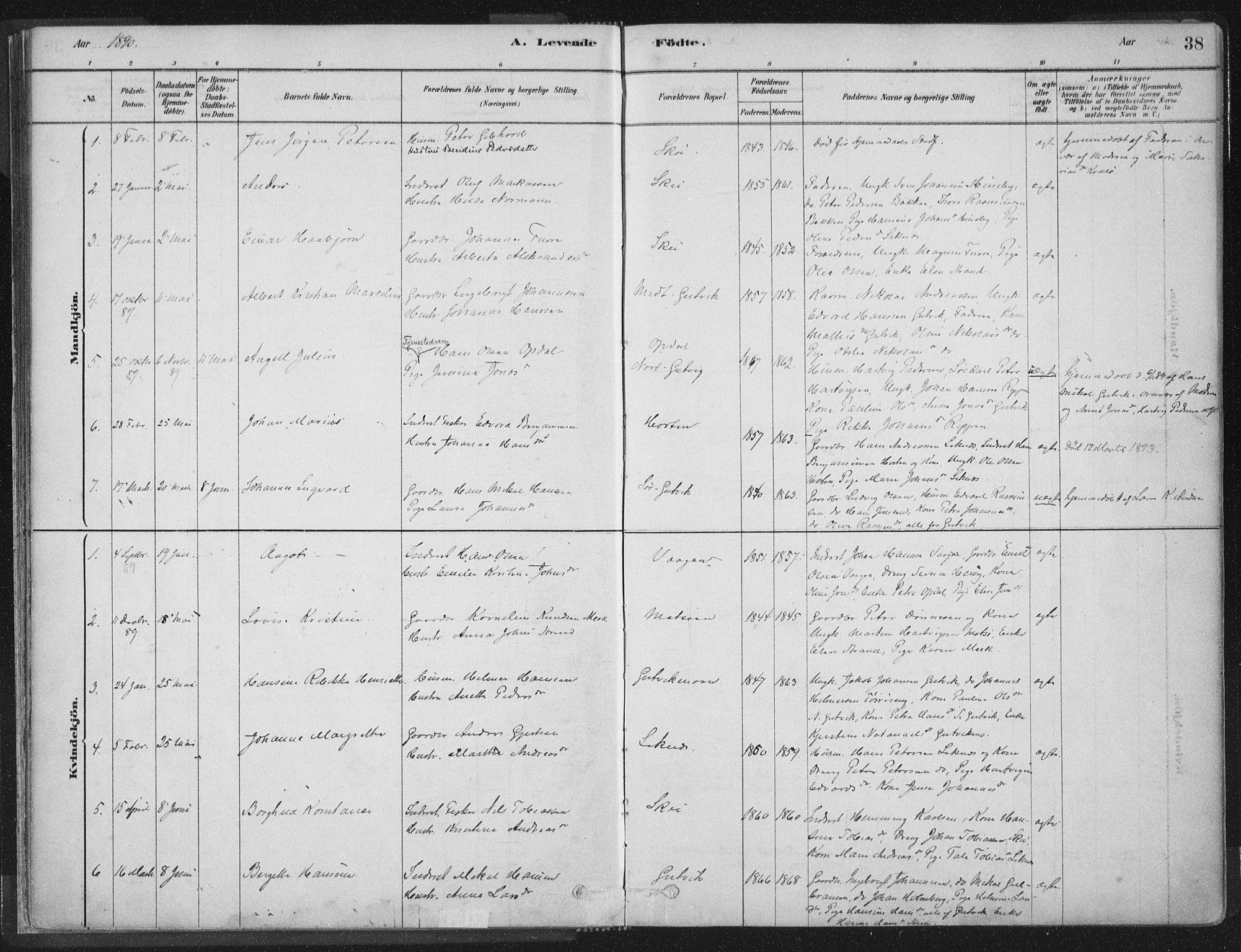 SAT, Ministerialprotokoller, klokkerbøker og fødselsregistre - Nord-Trøndelag, 788/L0697: Ministerialbok nr. 788A04, 1878-1902, s. 38