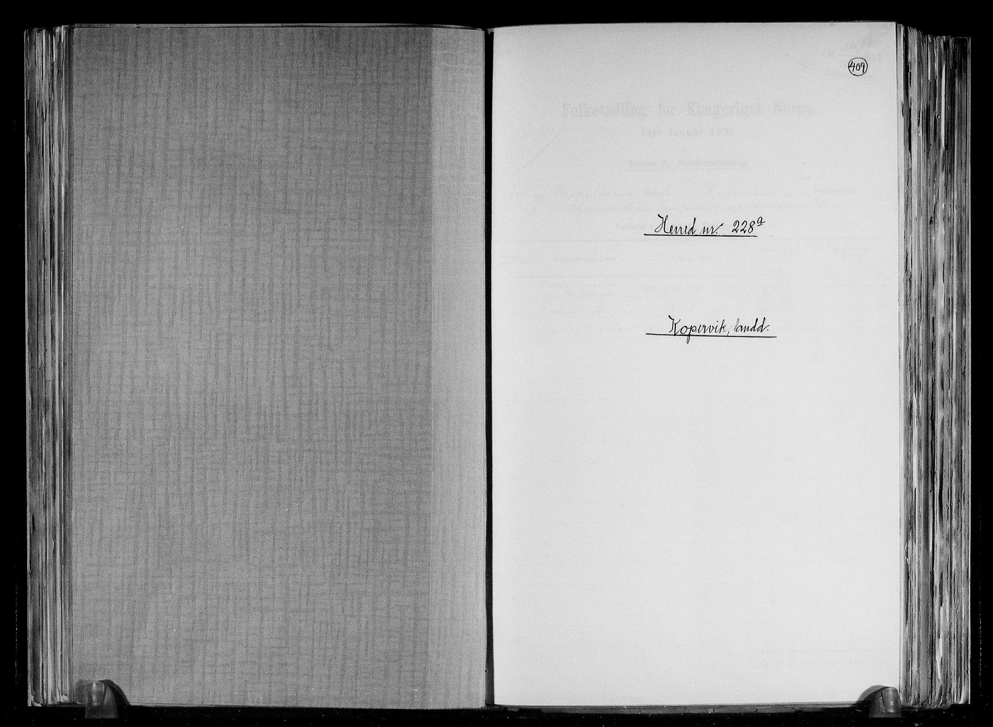 RA, Folketelling 1891 for 1147 Avaldsnes herred, 1891, s. 1