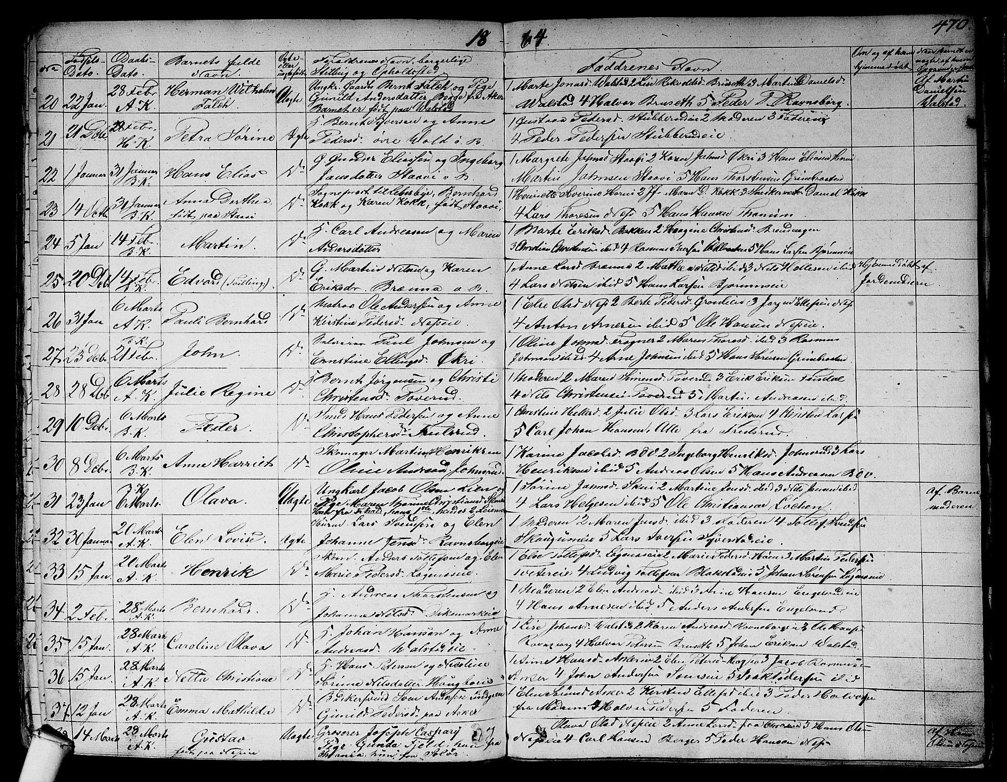 SAO, Asker prestekontor Kirkebøker, F/Fa/L0007: Ministerialbok nr. I 7, 1825-1864, s. 470