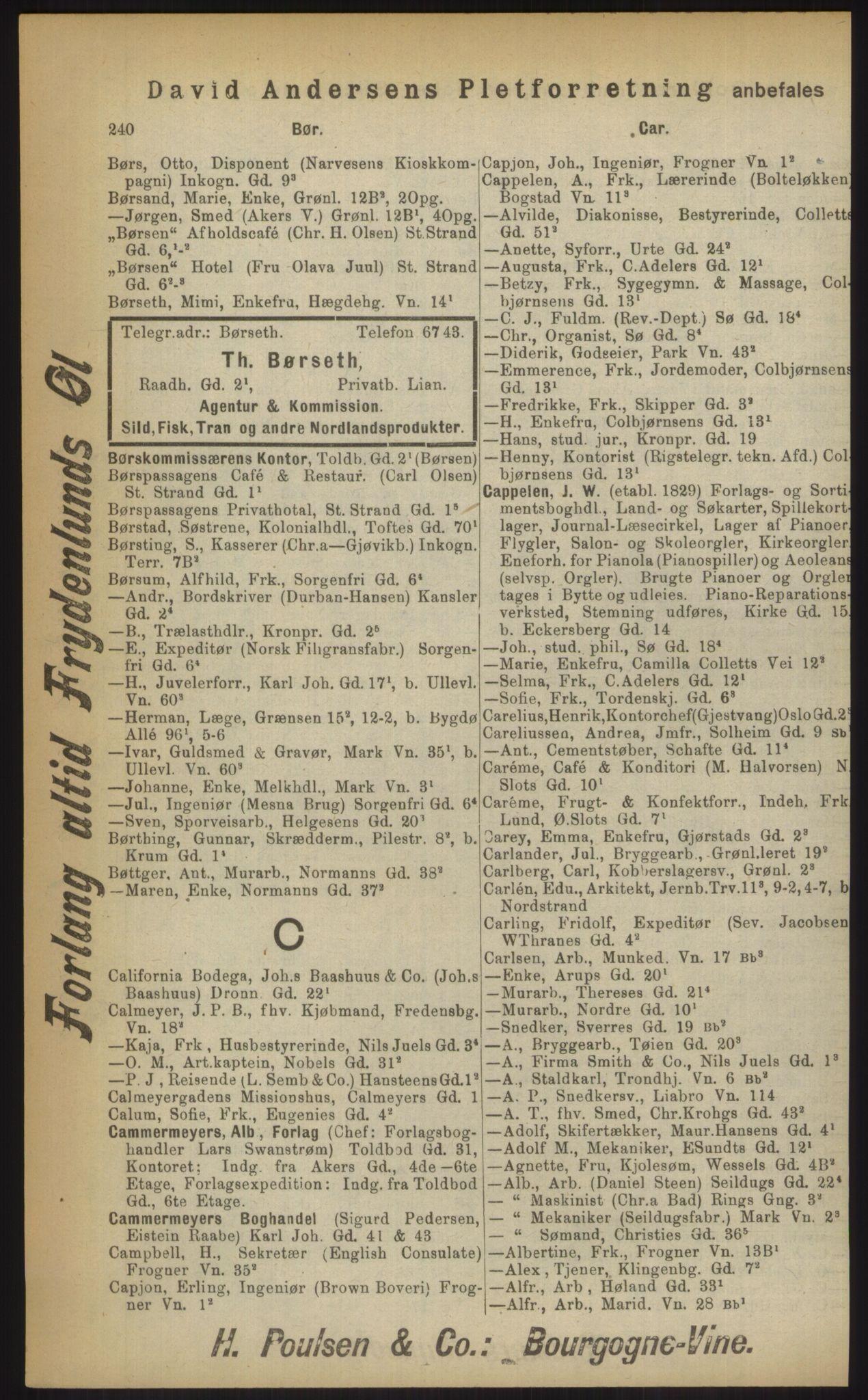 RA, Kristiania adressebok (publikasjon)*, 1903, s. 240