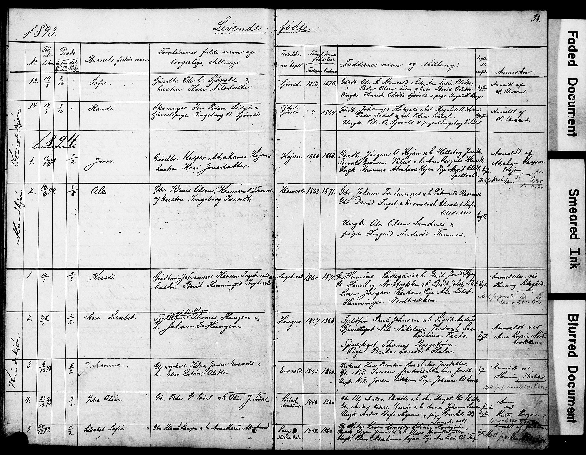 SAT, Ministerialprotokoller, klokkerbøker og fødselsregistre - Sør-Trøndelag, 683/L0949: Klokkerbok nr. 683C01, 1880-1896, s. 38