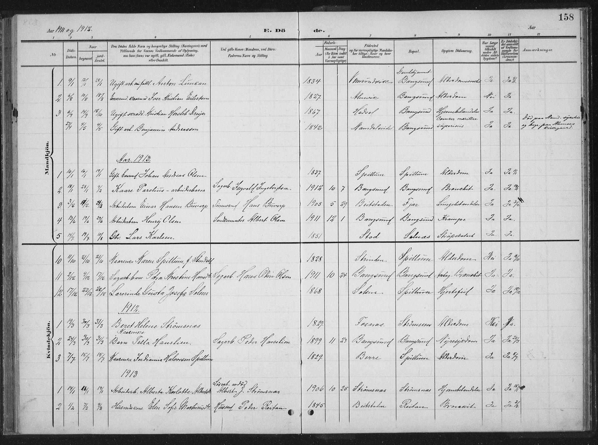 SAT, Ministerialprotokoller, klokkerbøker og fødselsregistre - Nord-Trøndelag, 770/L0591: Klokkerbok nr. 770C02, 1902-1940, s. 158