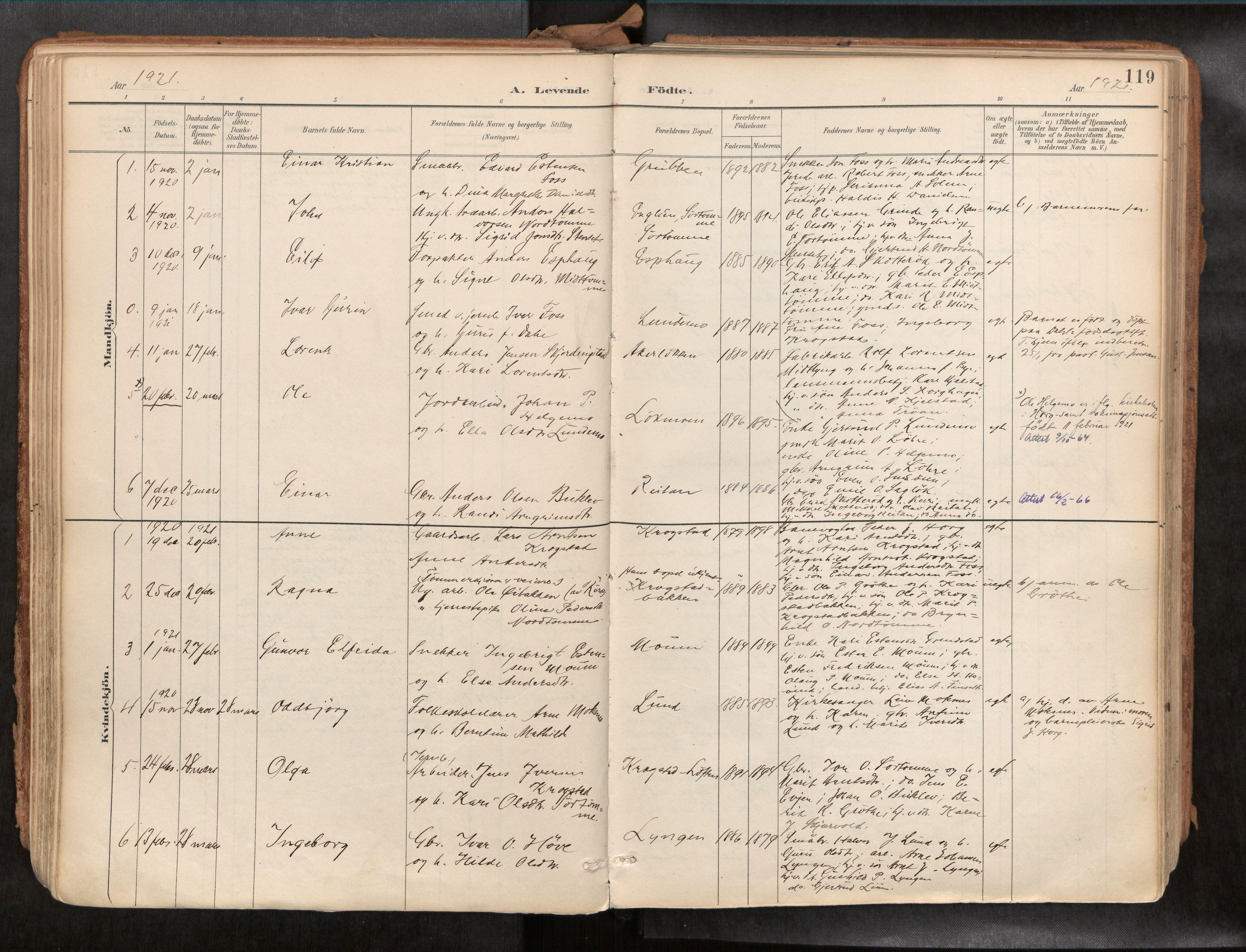 SAT, Ministerialprotokoller, klokkerbøker og fødselsregistre - Sør-Trøndelag, 692/L1105b: Ministerialbok nr. 692A06, 1891-1934, s. 119