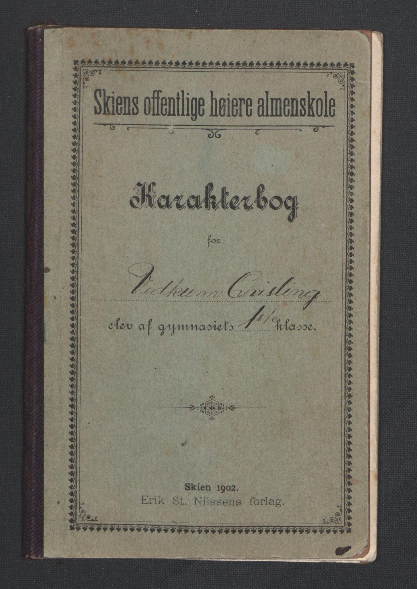 RA, Quisling, Vidkun, K/L0001: Brev til og fra Vidkun Quisling samt til og fra andre medlemmer av familien Quisling + karakterbøker, 1894-1929, s. 200
