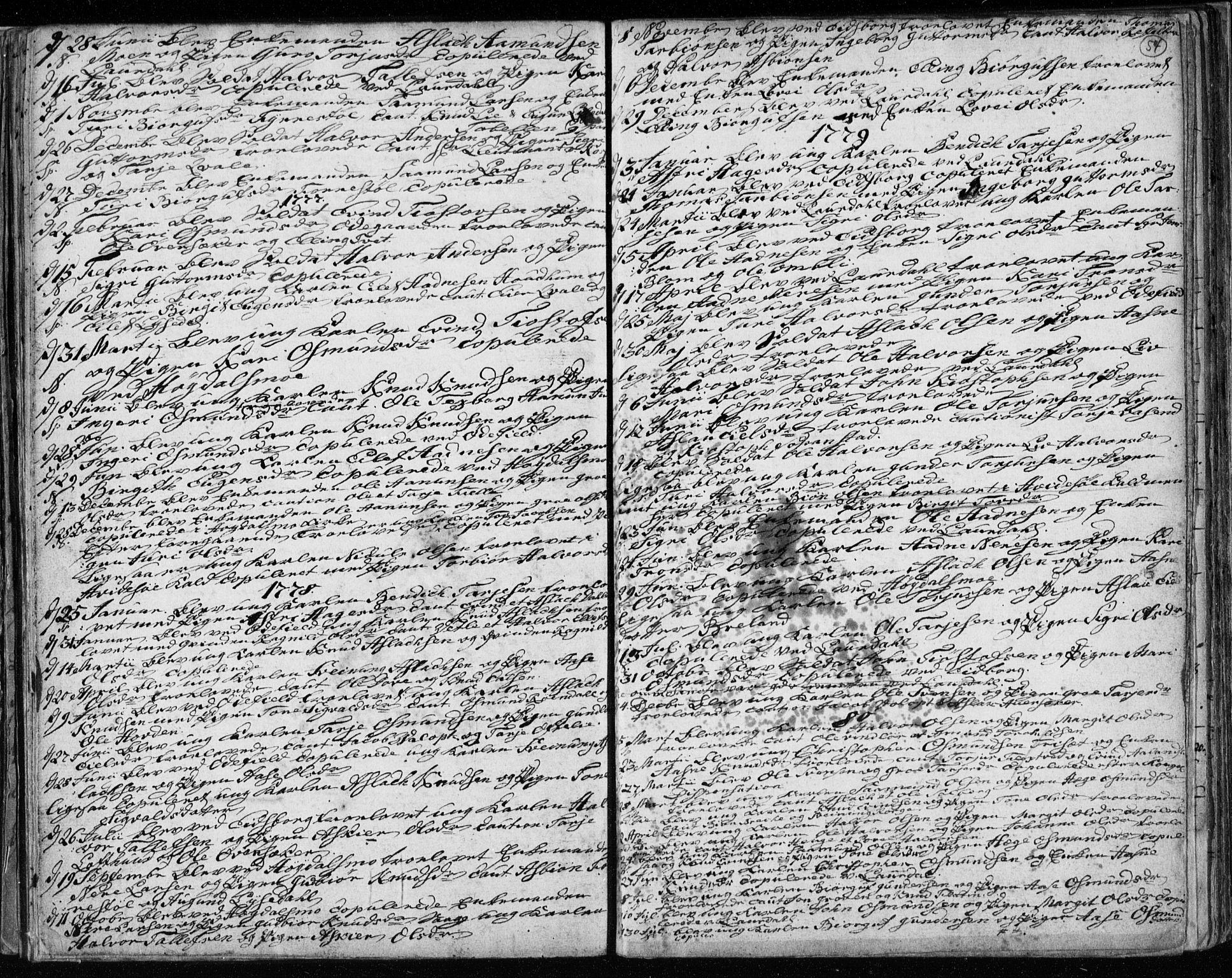SAKO, Lårdal kirkebøker, F/Fa/L0003: Ministerialbok nr. I 3, 1754-1790, s. 54