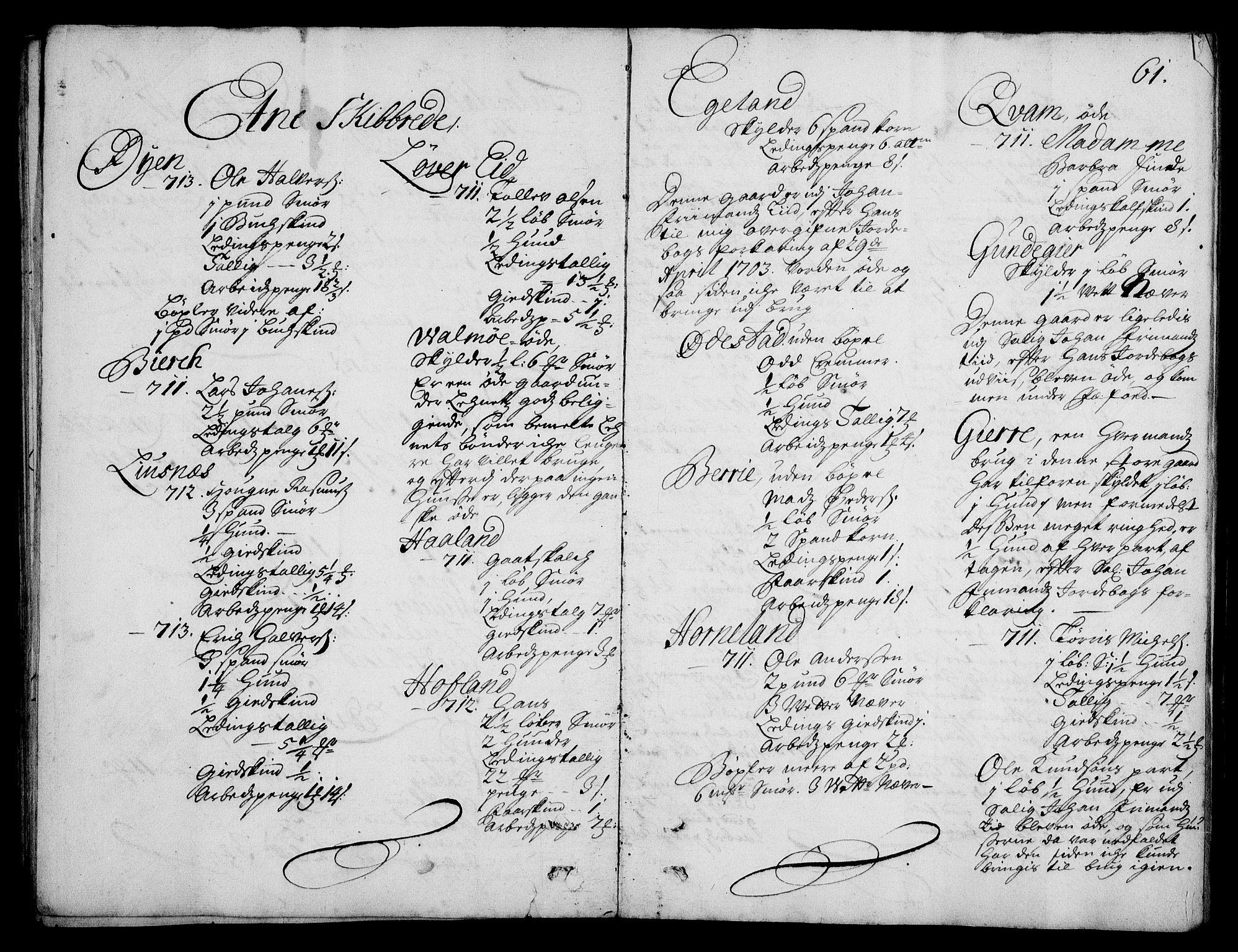 RA, Rentekammeret inntil 1814, Realistisk ordnet avdeling, On/L0003: [Jj 4]: Kommisjonsforretning over Vilhelm Hanssøns forpaktning av Halsnøy klosters gods, 1712-1722, s. 60b-61a