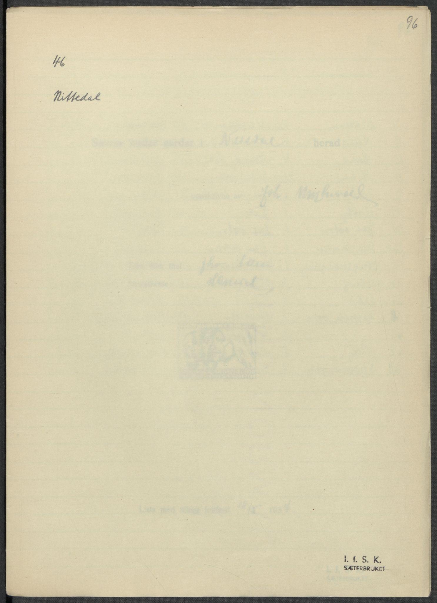 RA, Instituttet for sammenlignende kulturforskning, F/Fc/L0002: Eske B2:, 1932-1936, s. 96