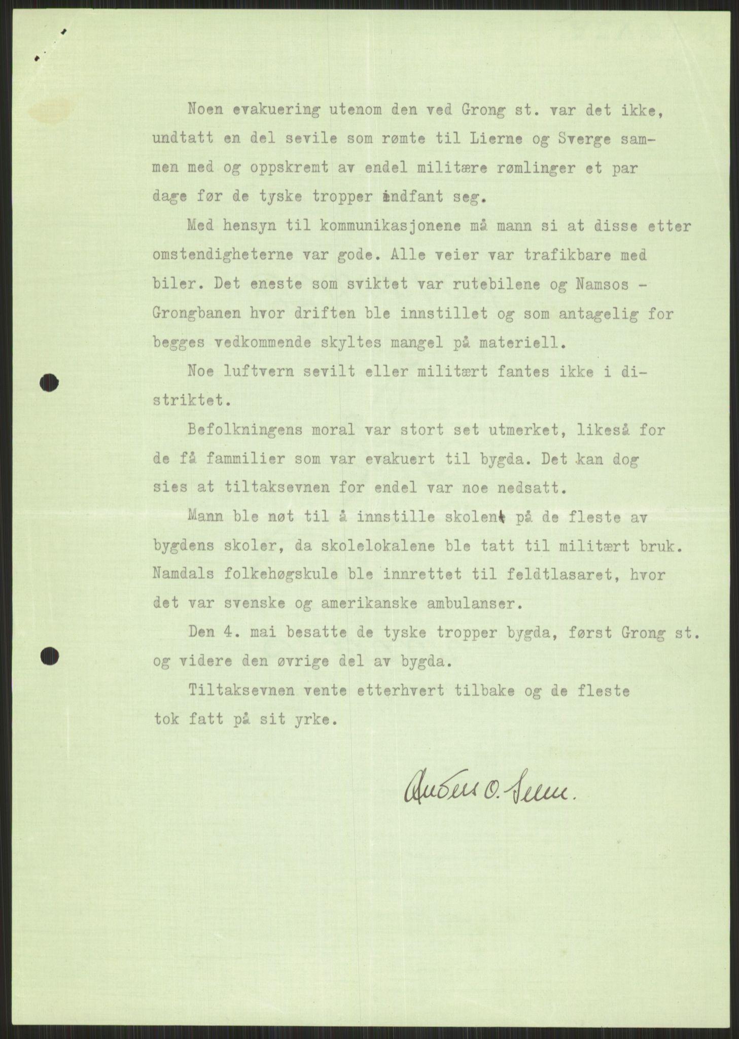 RA, Forsvaret, Forsvarets krigshistoriske avdeling, Y/Ya/L0016: II-C-11-31 - Fylkesmenn.  Rapporter om krigsbegivenhetene 1940., 1940, s. 468