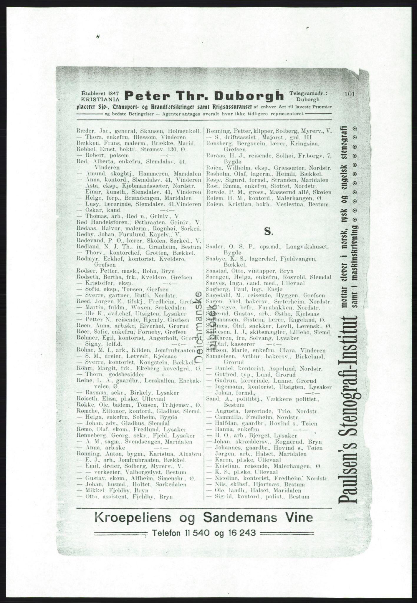 RA, Aker adressebok/adressekalender (publikasjon)*, 1916-1917, s. 101