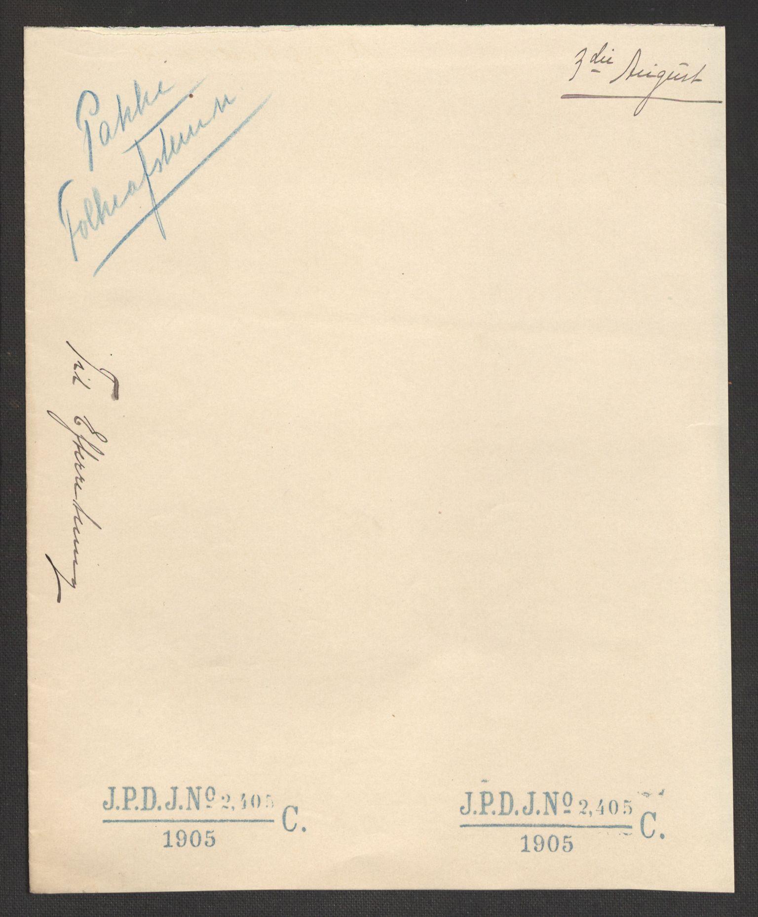 RA, Justisdepartementet, 2. sivilkontor C, F/L0125B: Folkeavstemmingen august 1905, 1905, s. 95