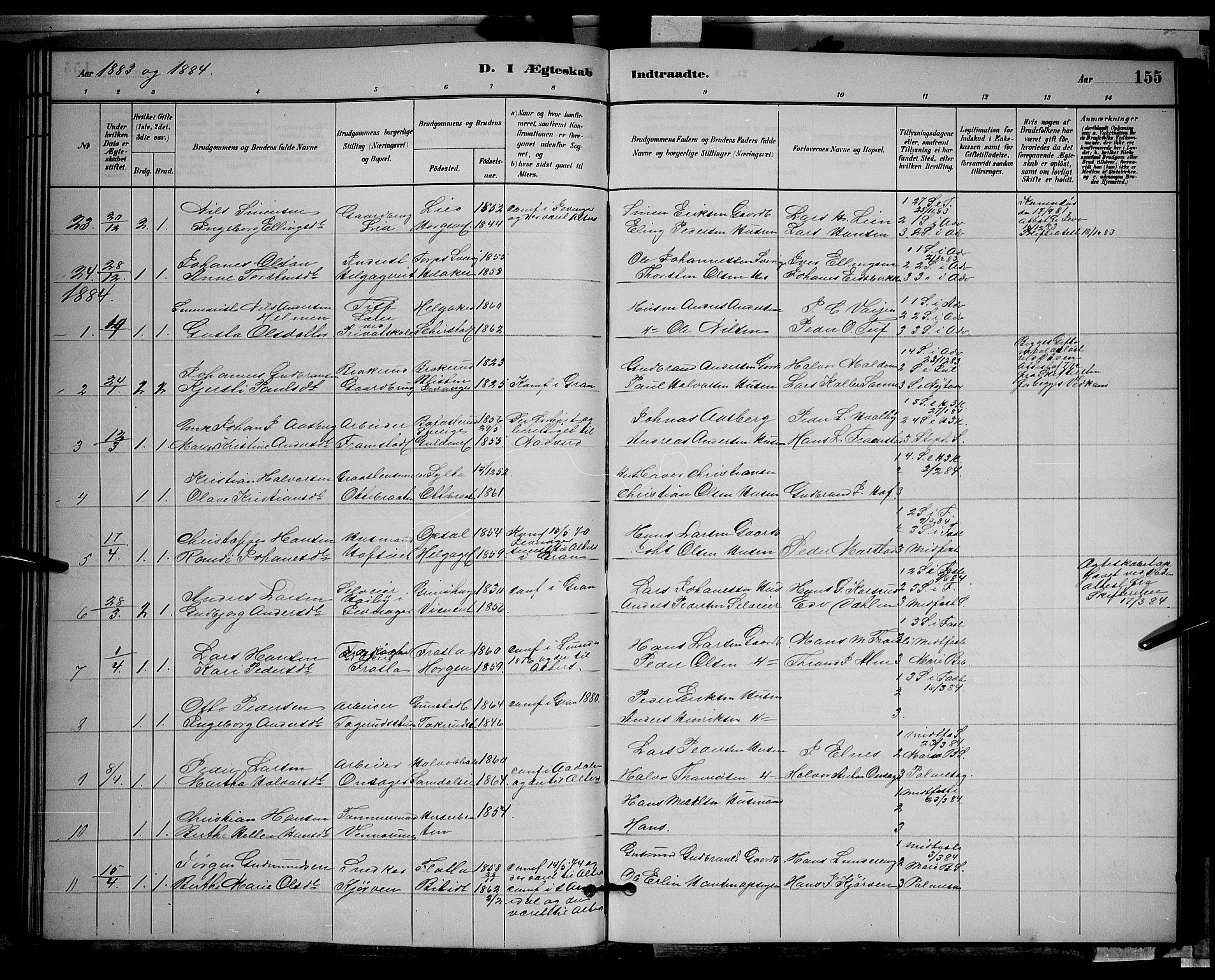 SAH, Gran prestekontor, Klokkerbok nr. 2, 1879-1892, s. 155