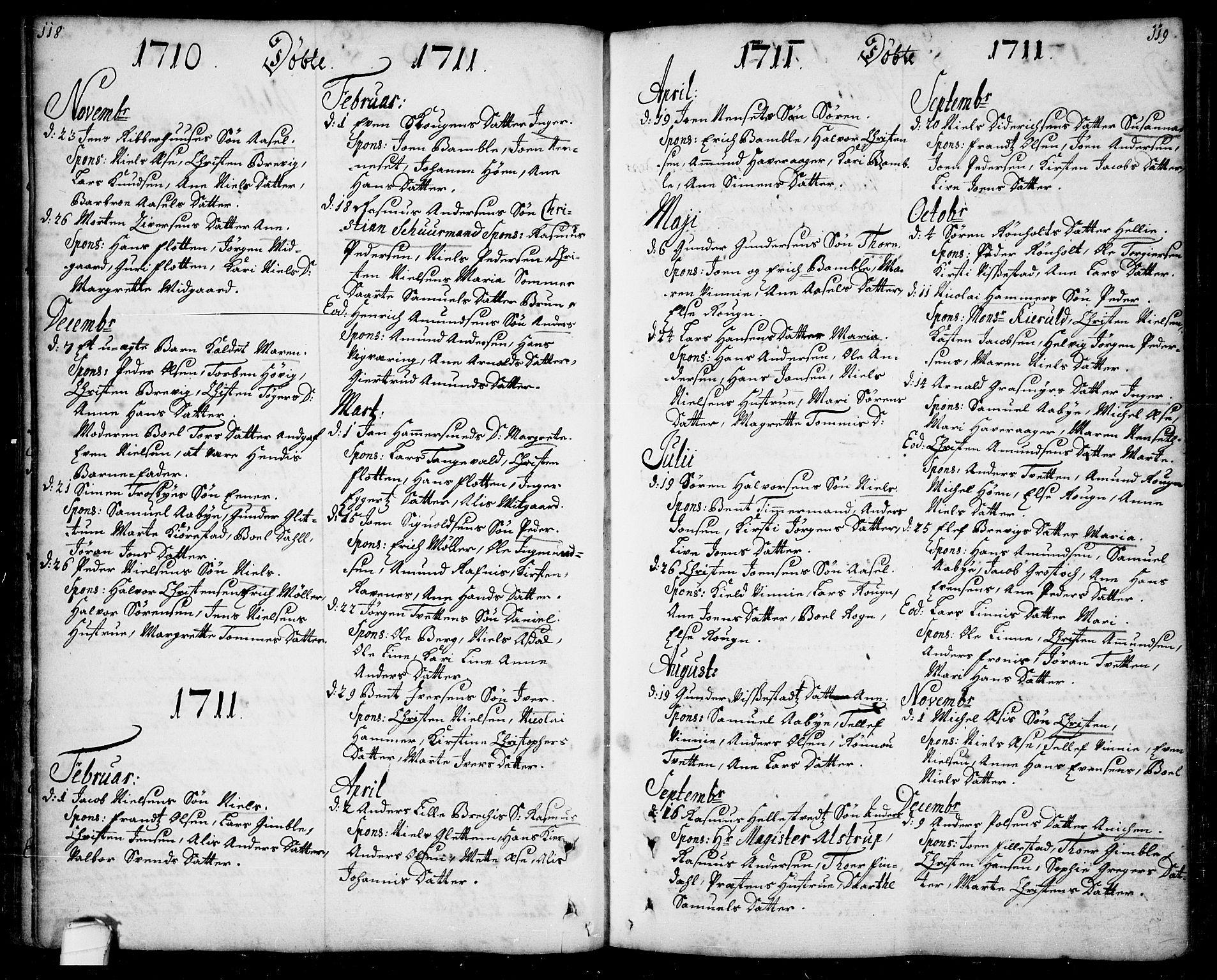 SAKO, Bamble kirkebøker, F/Fa/L0001: Ministerialbok nr. I 1, 1702-1774, s. 118-119