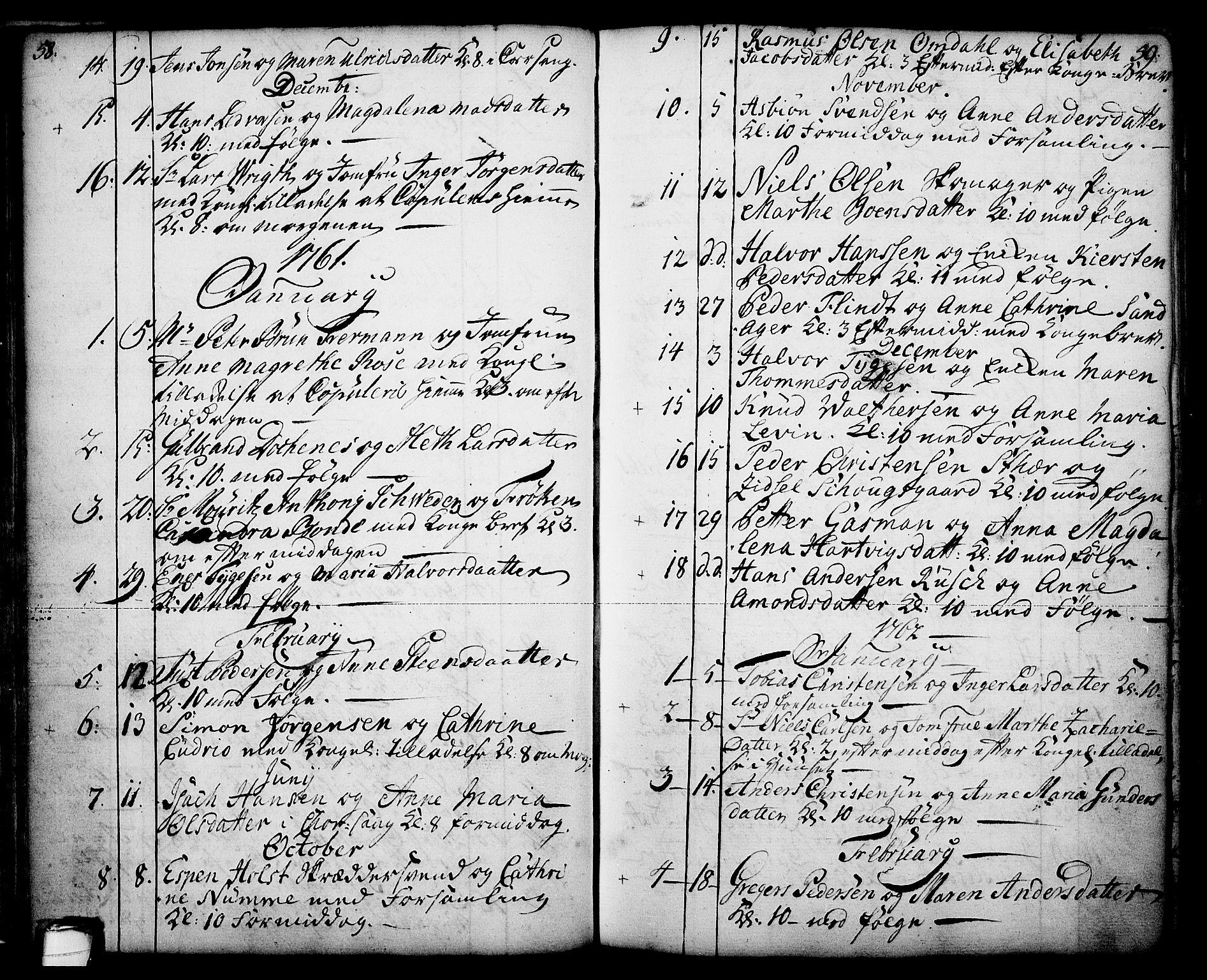 SAKO, Skien kirkebøker, F/Fa/L0003: Ministerialbok nr. 3, 1755-1791, s. 58-59