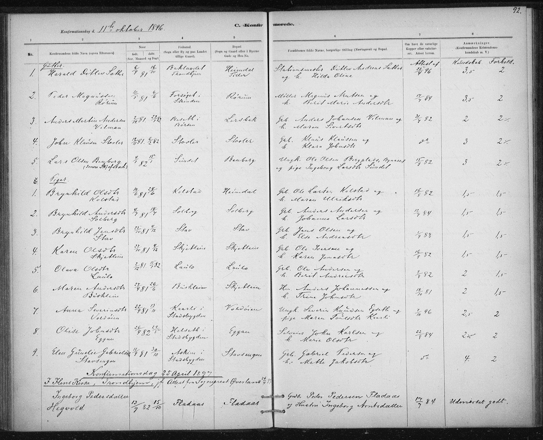 SAT, Ministerialprotokoller, klokkerbøker og fødselsregistre - Sør-Trøndelag, 613/L0392: Ministerialbok nr. 613A01, 1887-1906, s. 92