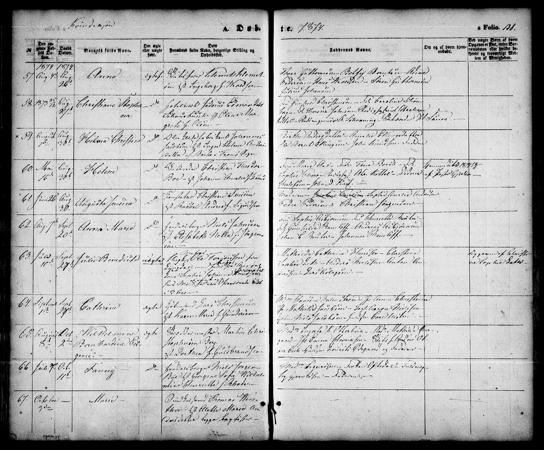 SAK, Arendal sokneprestkontor, Trefoldighet, F/Fa/L0007: Ministerialbok nr. A 7, 1868-1878, s. 138
