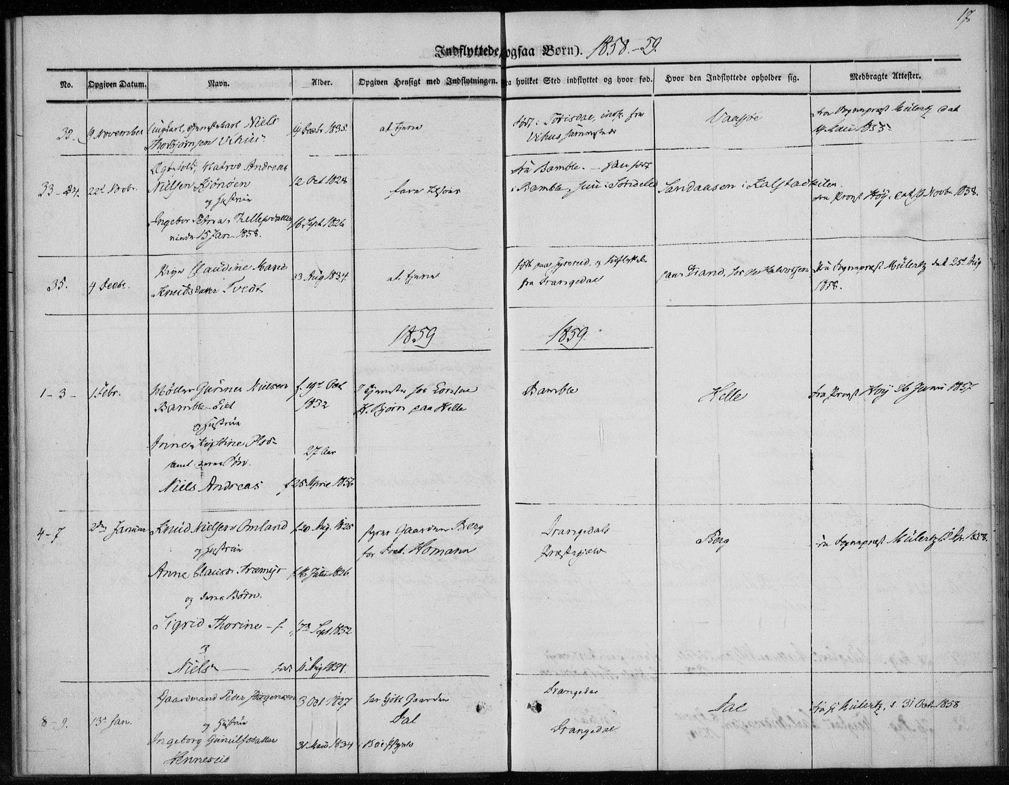 SAKO, Sannidal kirkebøker, F/Fa/L0013: Ministerialbok nr. 13, 1854-1873, s. 17