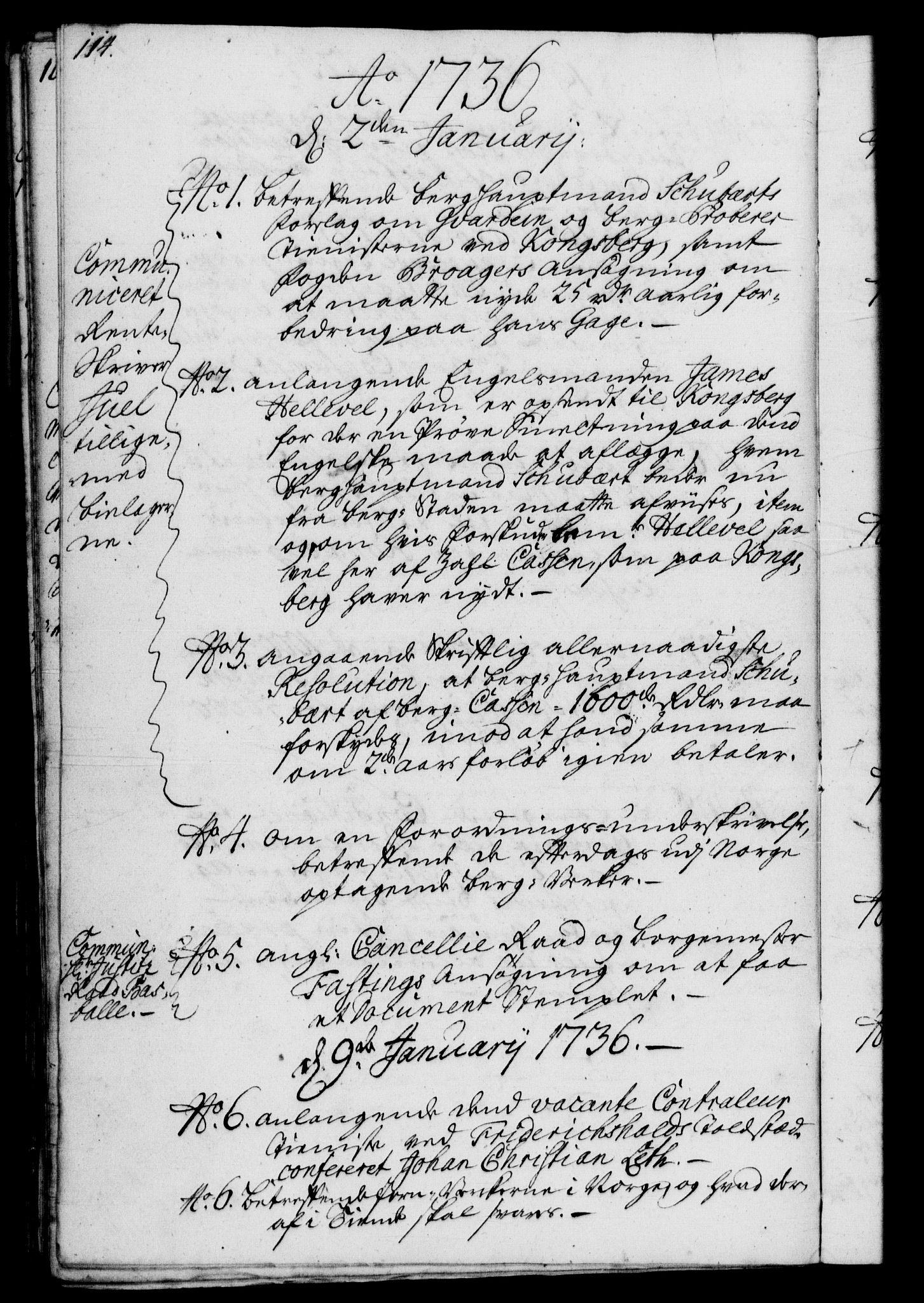 RA, Rentekammeret, Kammerkanselliet, G/Gf/Gfb/L0003: Register til norske relasjons- og resolusjonsprotokoller (merket RK 52.98), 1729-1736, s. 114