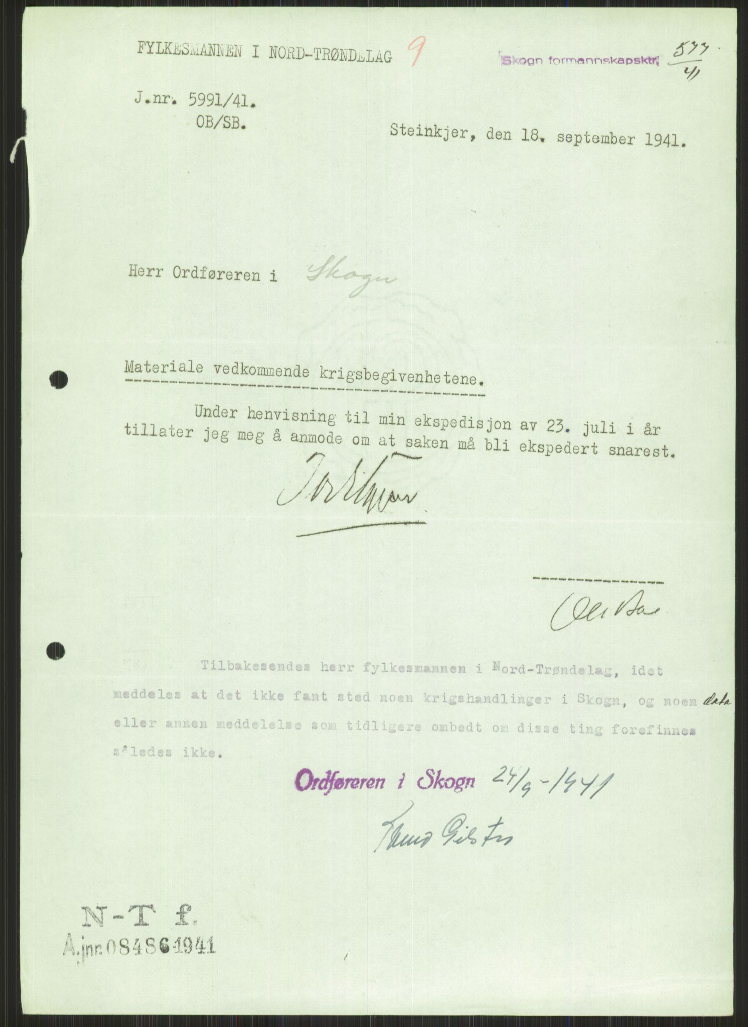 RA, Forsvaret, Forsvarets krigshistoriske avdeling, Y/Ya/L0016: II-C-11-31 - Fylkesmenn.  Rapporter om krigsbegivenhetene 1940., 1940, s. 562