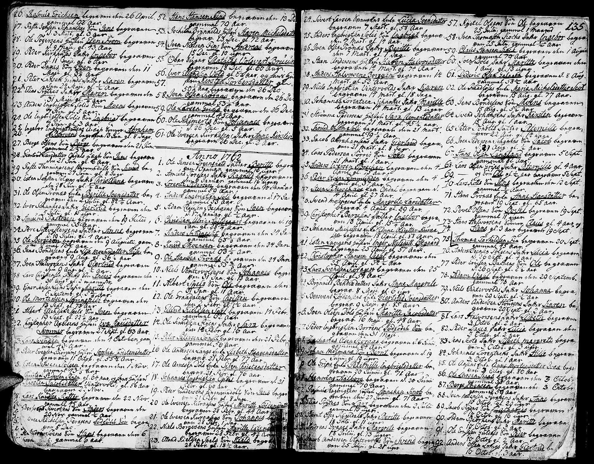 SAT, Ministerialprotokoller, klokkerbøker og fødselsregistre - Sør-Trøndelag, 681/L0925: Ministerialbok nr. 681A03, 1727-1766, s. 135
