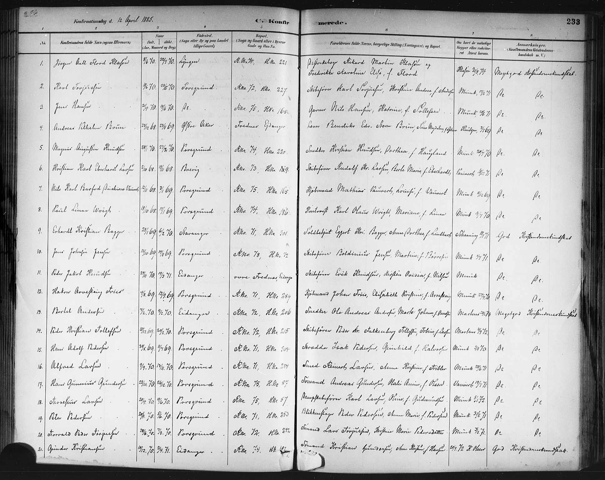 SAKO, Porsgrunn kirkebøker , G/Gb/L0005: Klokkerbok nr. II 5, 1883-1915, s. 233