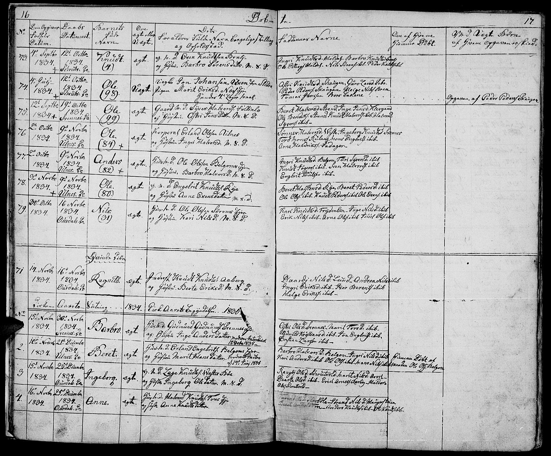 SAH, Nord-Aurdal prestekontor, Klokkerbok nr. 1, 1834-1887, s. 16-17