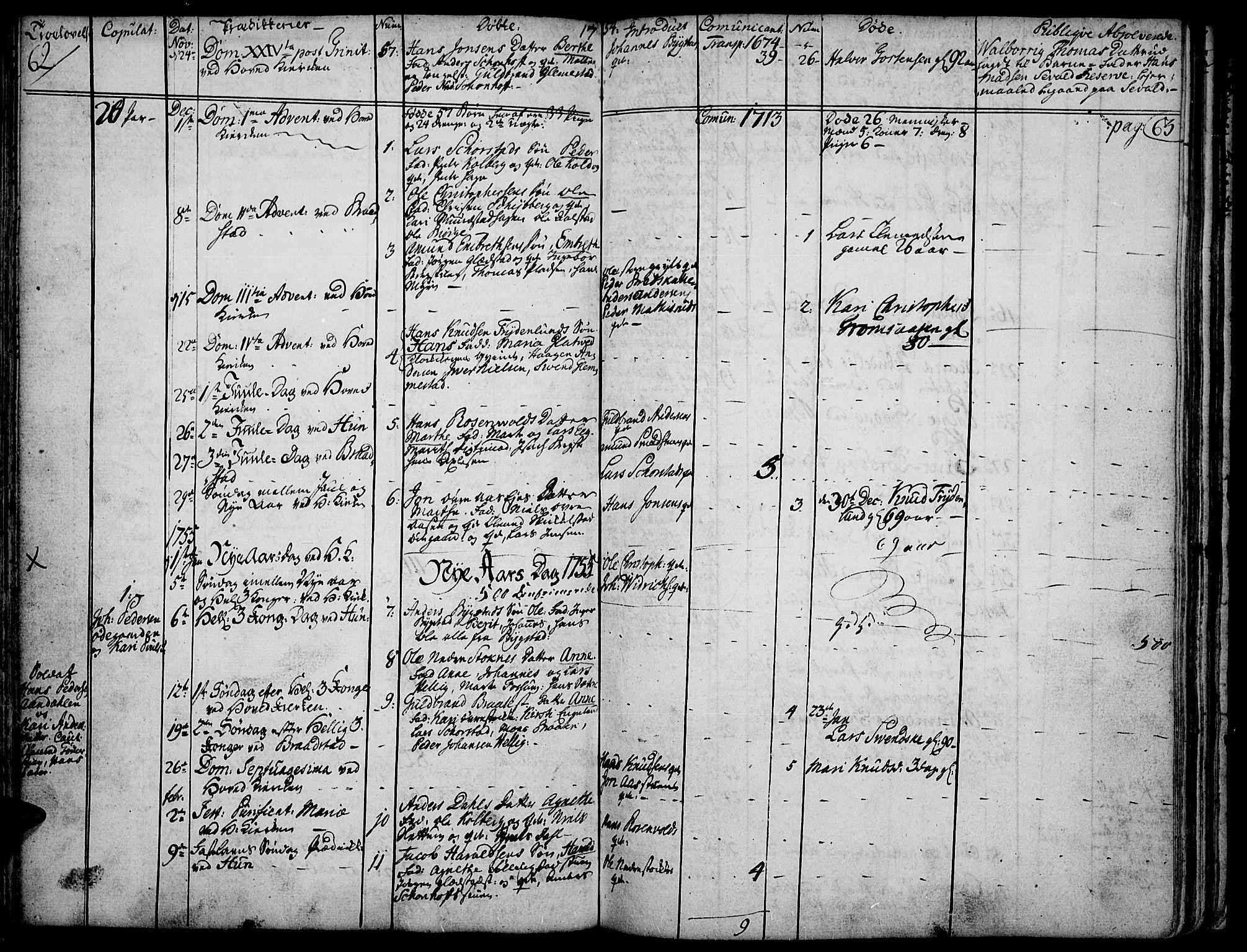 SAH, Vardal prestekontor, H/Ha/Haa/L0002: Ministerialbok nr. 2, 1748-1776, s. 62-63