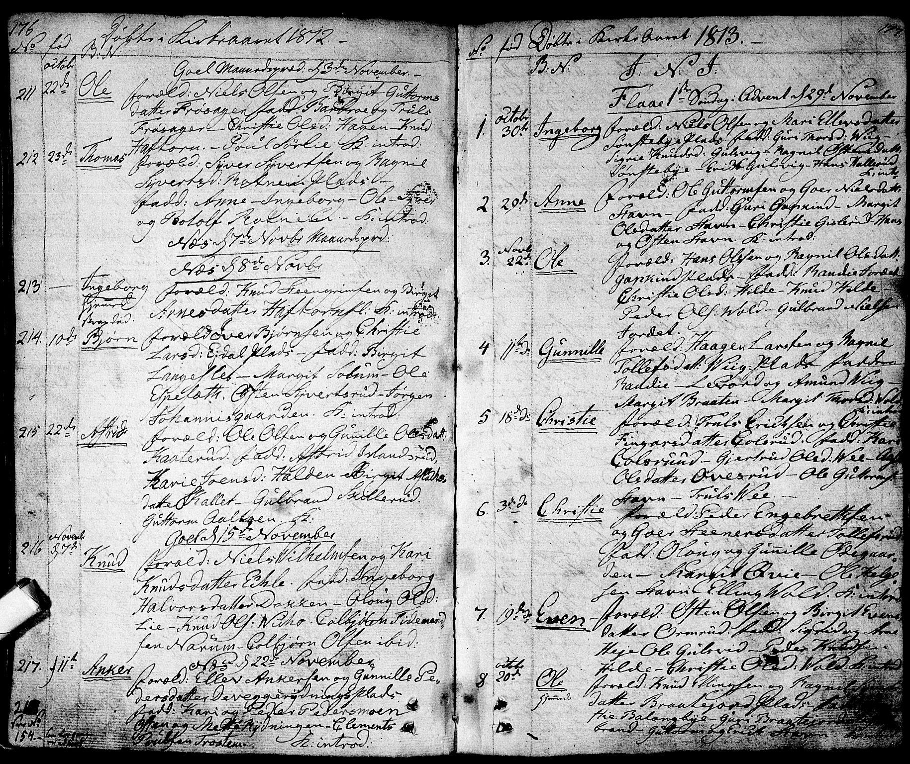 SAKO, Nes kirkebøker, F/Fa/L0006: Ministerialbok nr. 6, 1808-1814, s. 176-177