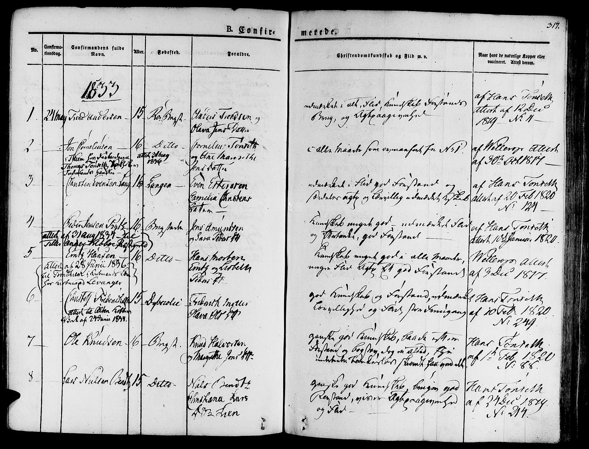 SAT, Ministerialprotokoller, klokkerbøker og fødselsregistre - Sør-Trøndelag, 681/L0930: Ministerialbok nr. 681A08, 1829-1844, s. 317