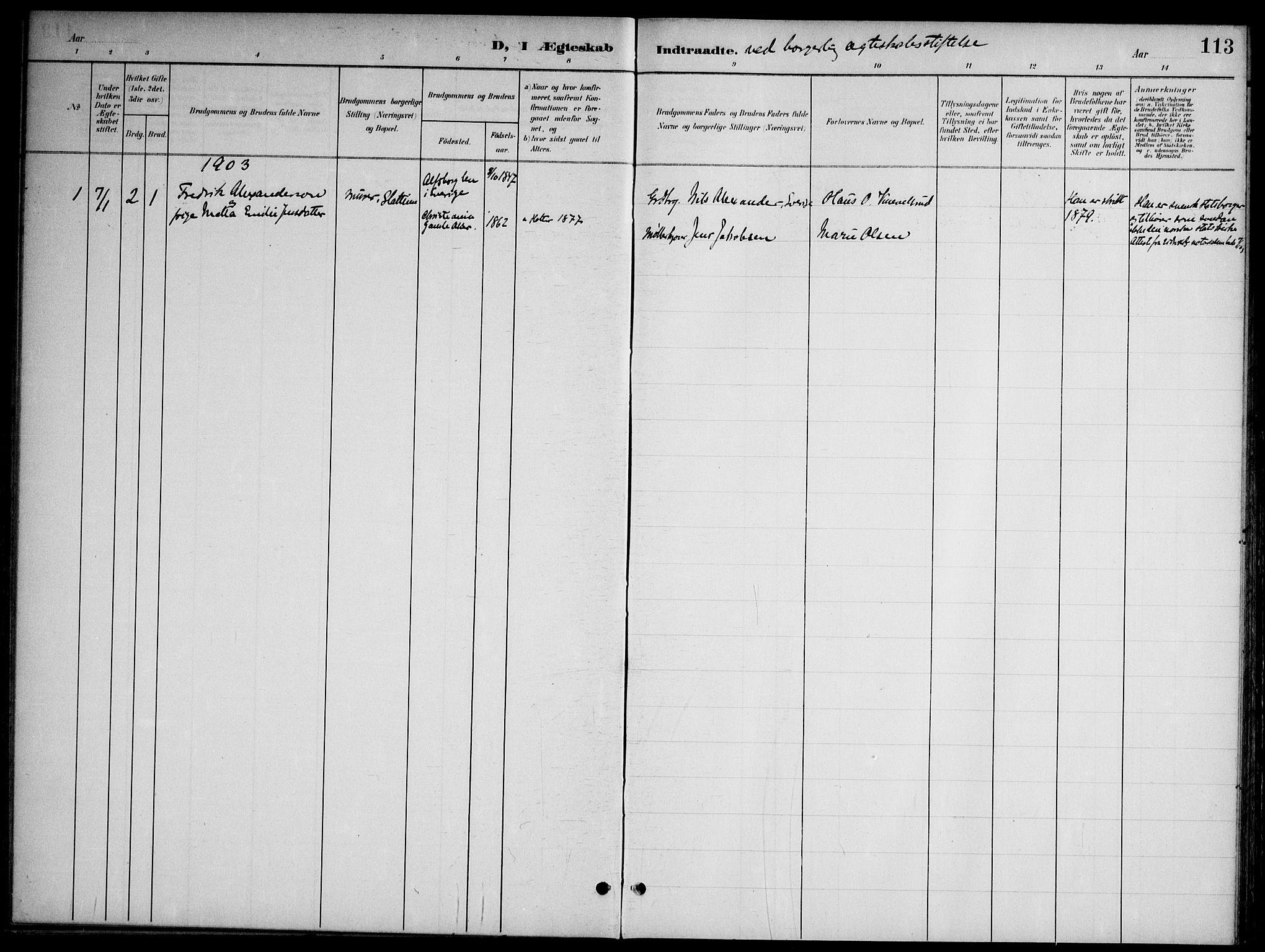 SAO, Nannestad prestekontor Kirkebøker, G/Gb/L0001: Klokkerbok nr. II 1, 1901-1917, s. 113
