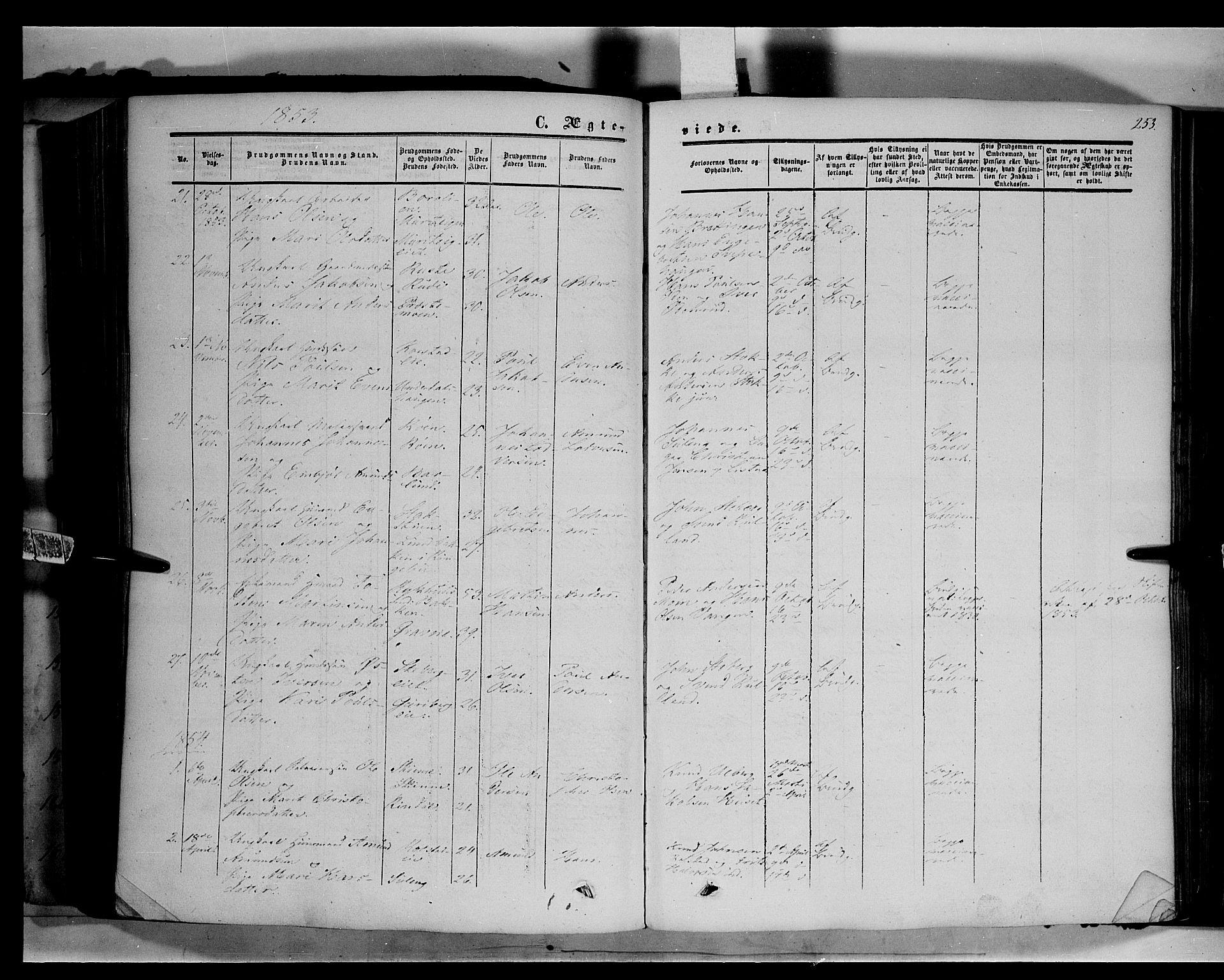 SAH, Sør-Fron prestekontor, H/Ha/Haa/L0001: Ministerialbok nr. 1, 1849-1863, s. 253