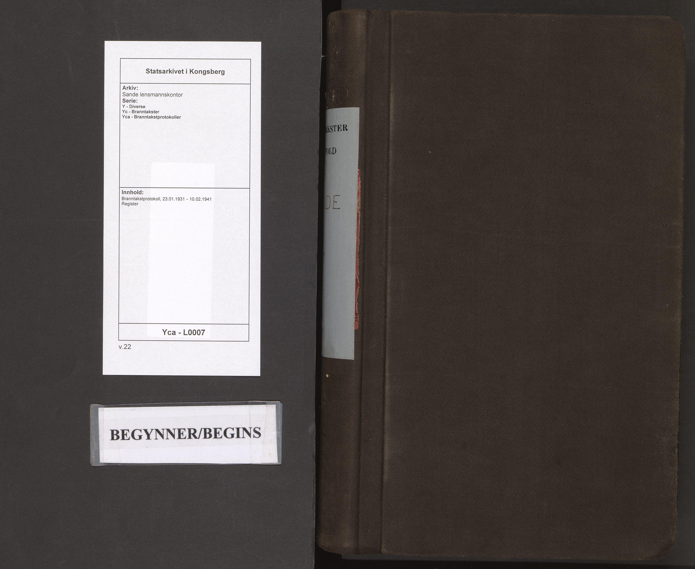 SAKO, Sande lensmannskontor, Y/Yc/Yca/L0007: Branntakstprotokoll, 1931-1941