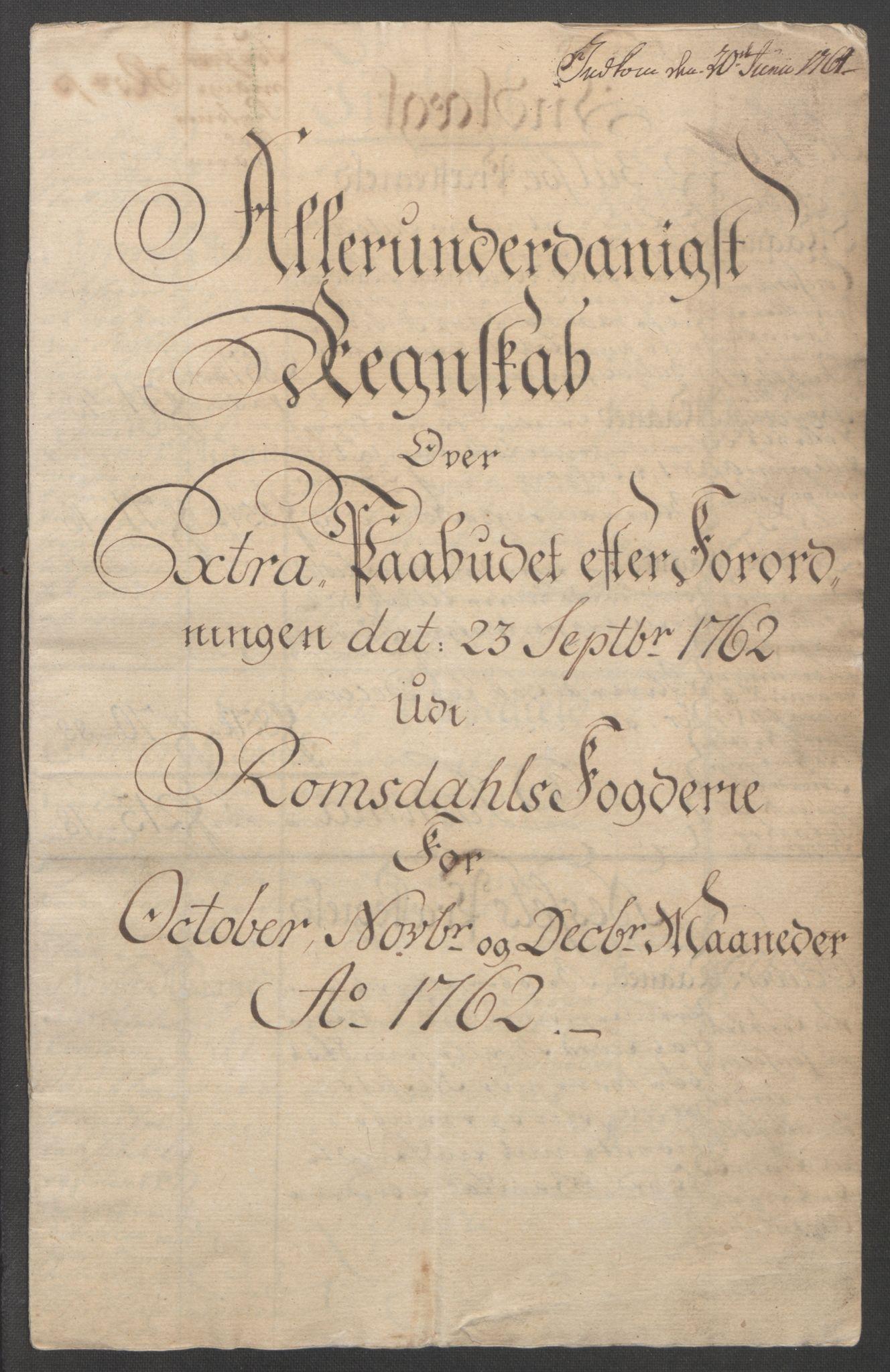 RA, Rentekammeret inntil 1814, Reviderte regnskaper, Fogderegnskap, R55/L3730: Ekstraskatten Romsdal, 1762-1763, s. 2