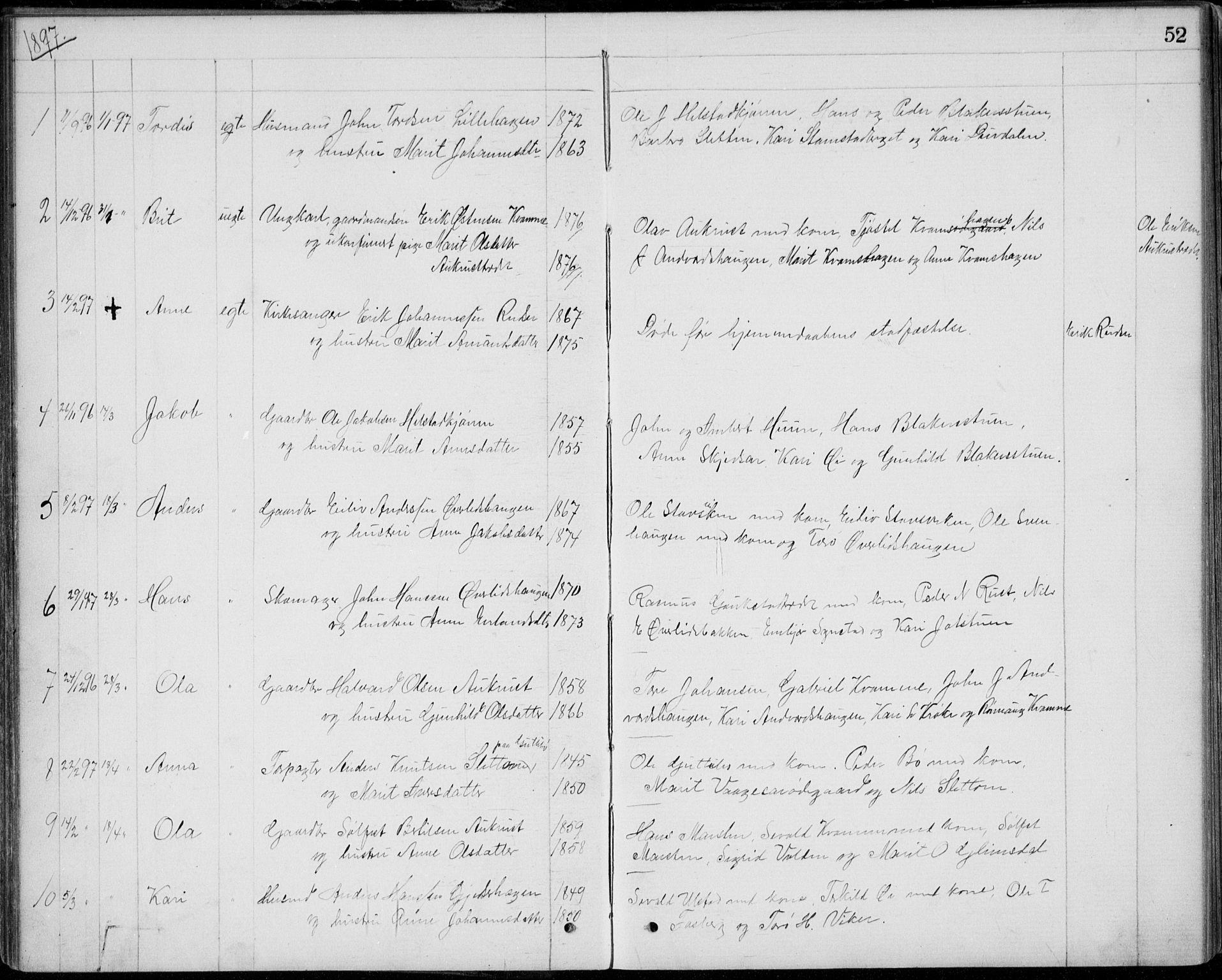 SAH, Lom prestekontor, L/L0013: Klokkerbok nr. 13, 1874-1938, s. 52
